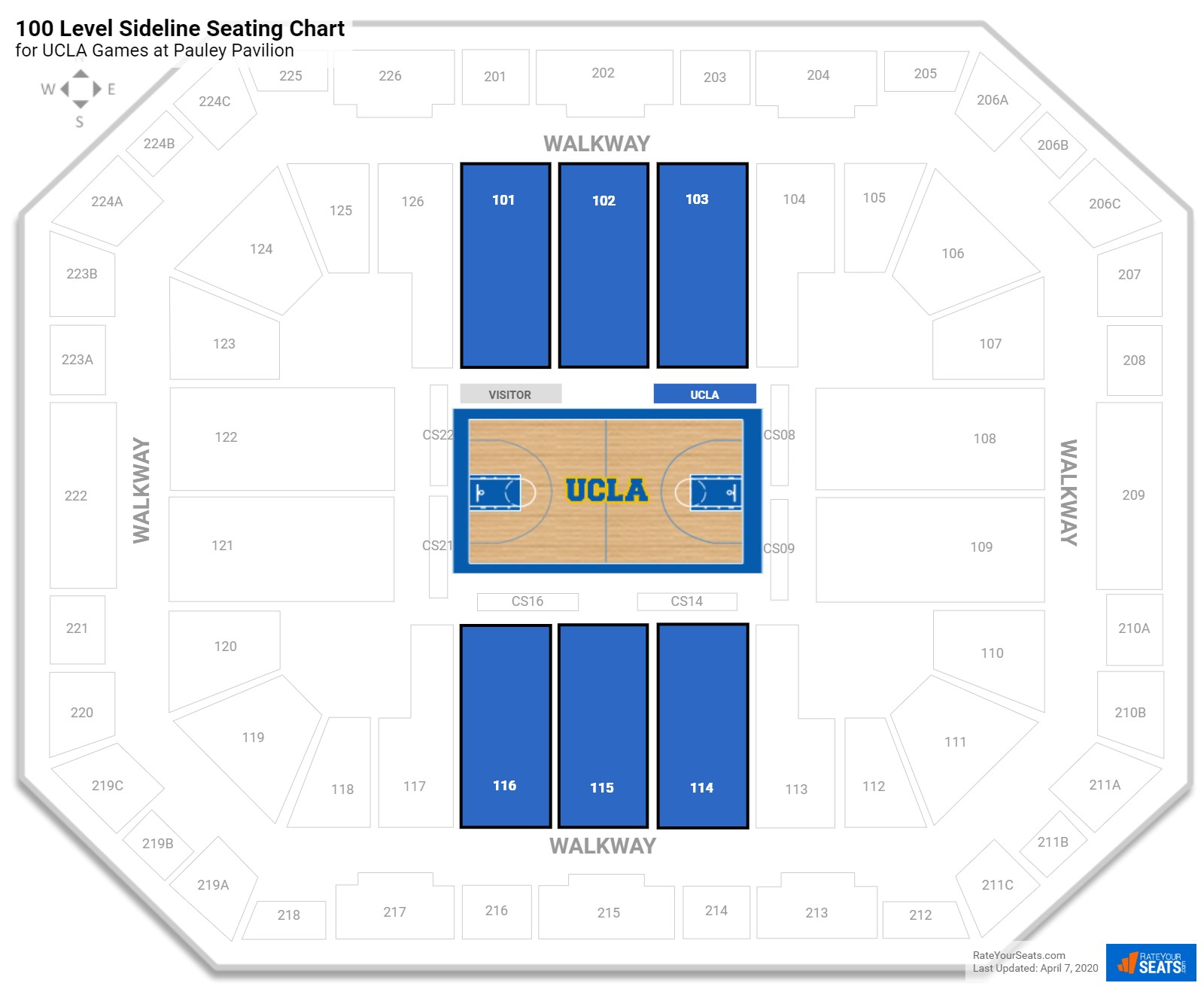 Pauley Pavilion Arena Level Side seating chart