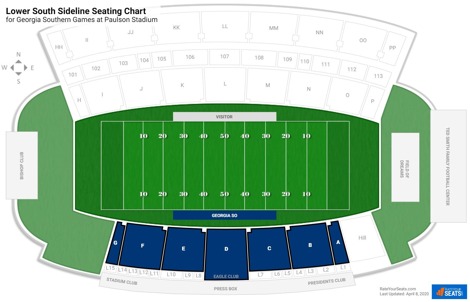 Paulson Stadium Lower South Sideline seating chart