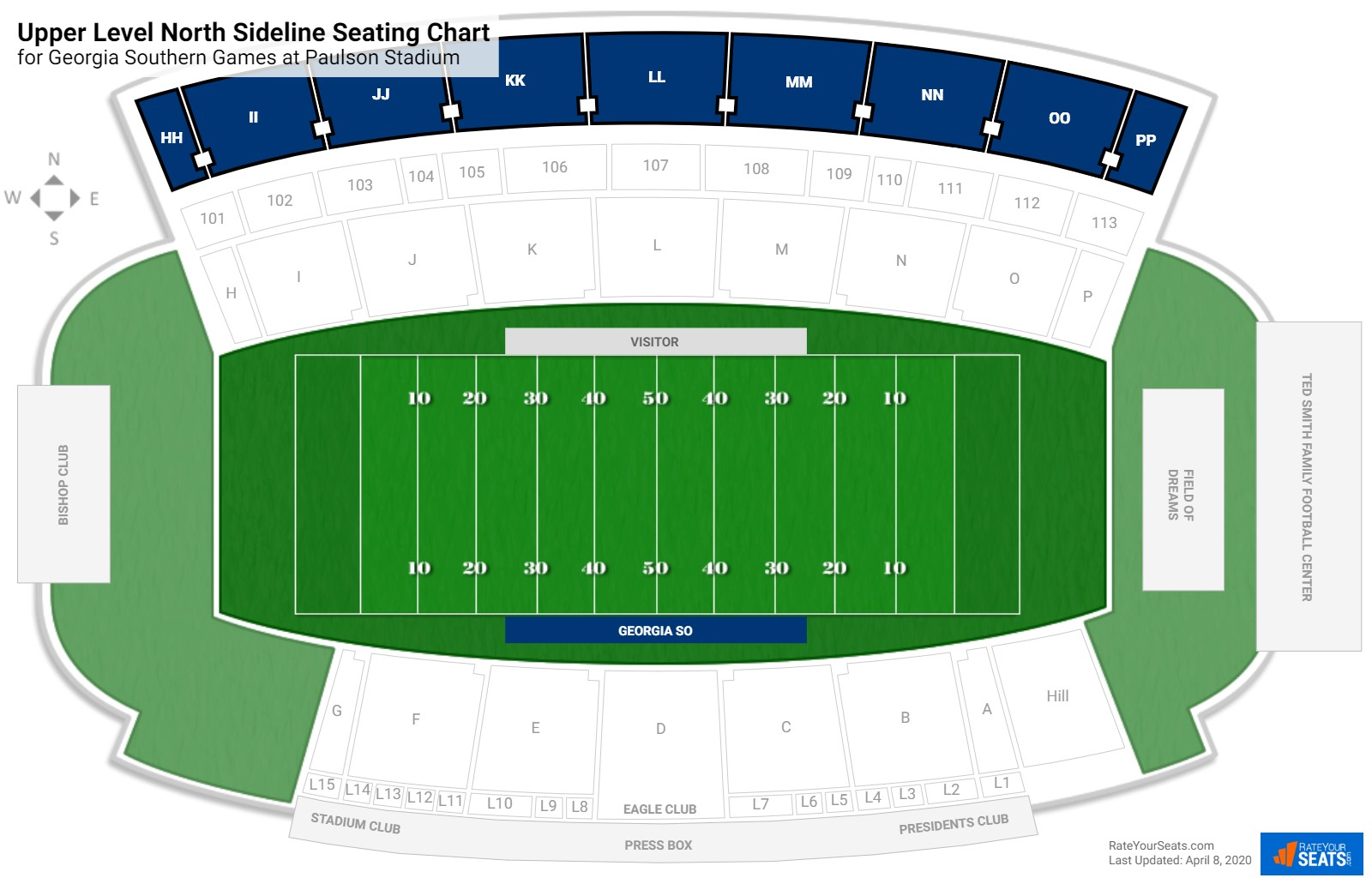 Paulson Stadium Upper Level North Sideline seating chart