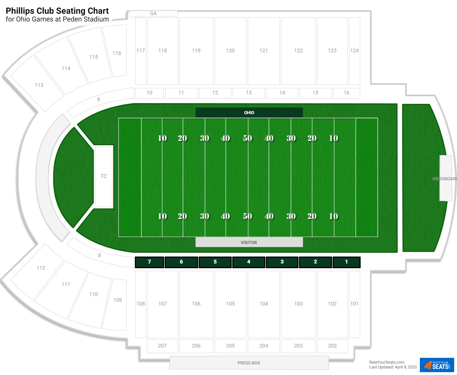 Peden Stadium Phillips Club seating chart