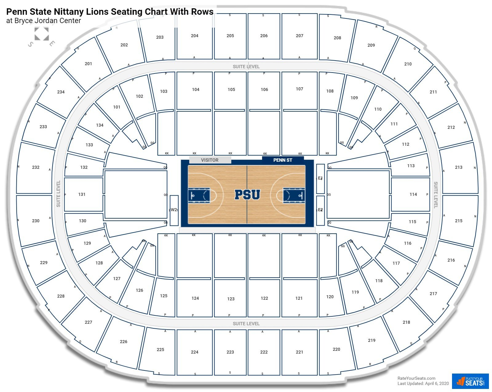 Bryce Jordan Center seating chart with rows basketball