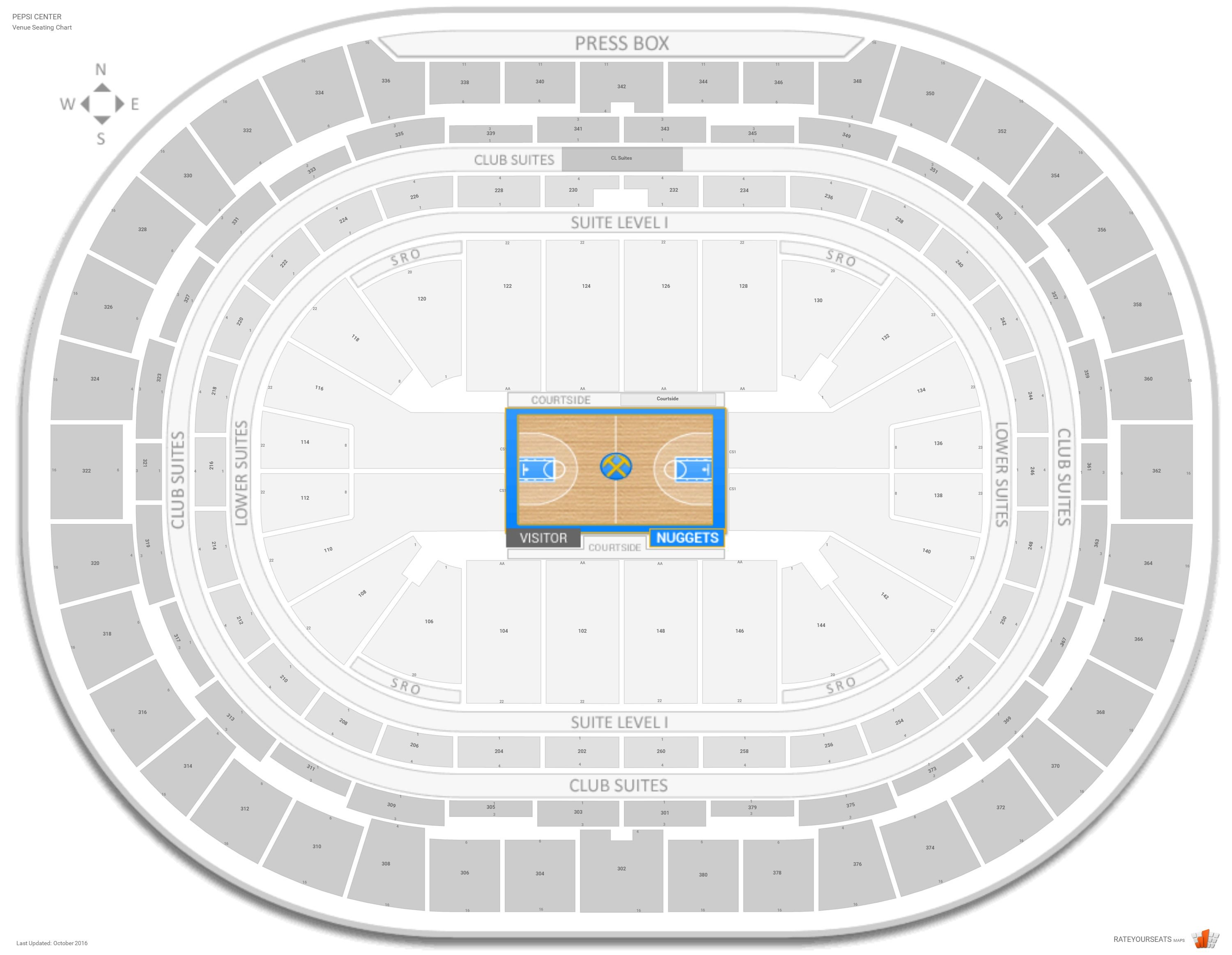 Denver Nuggets Seating Guide Pepsi Center Rateyourseats Com