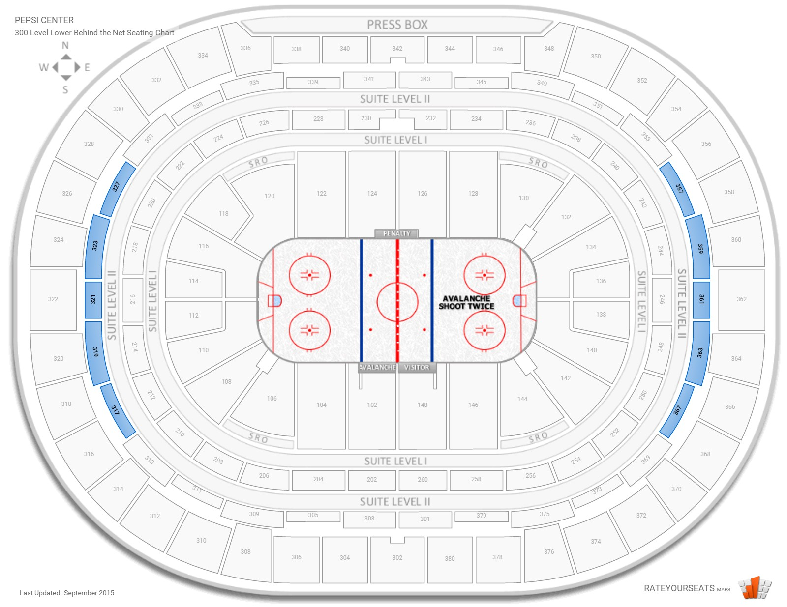 Pepsi Center 300 Level Behind the Net seating chart