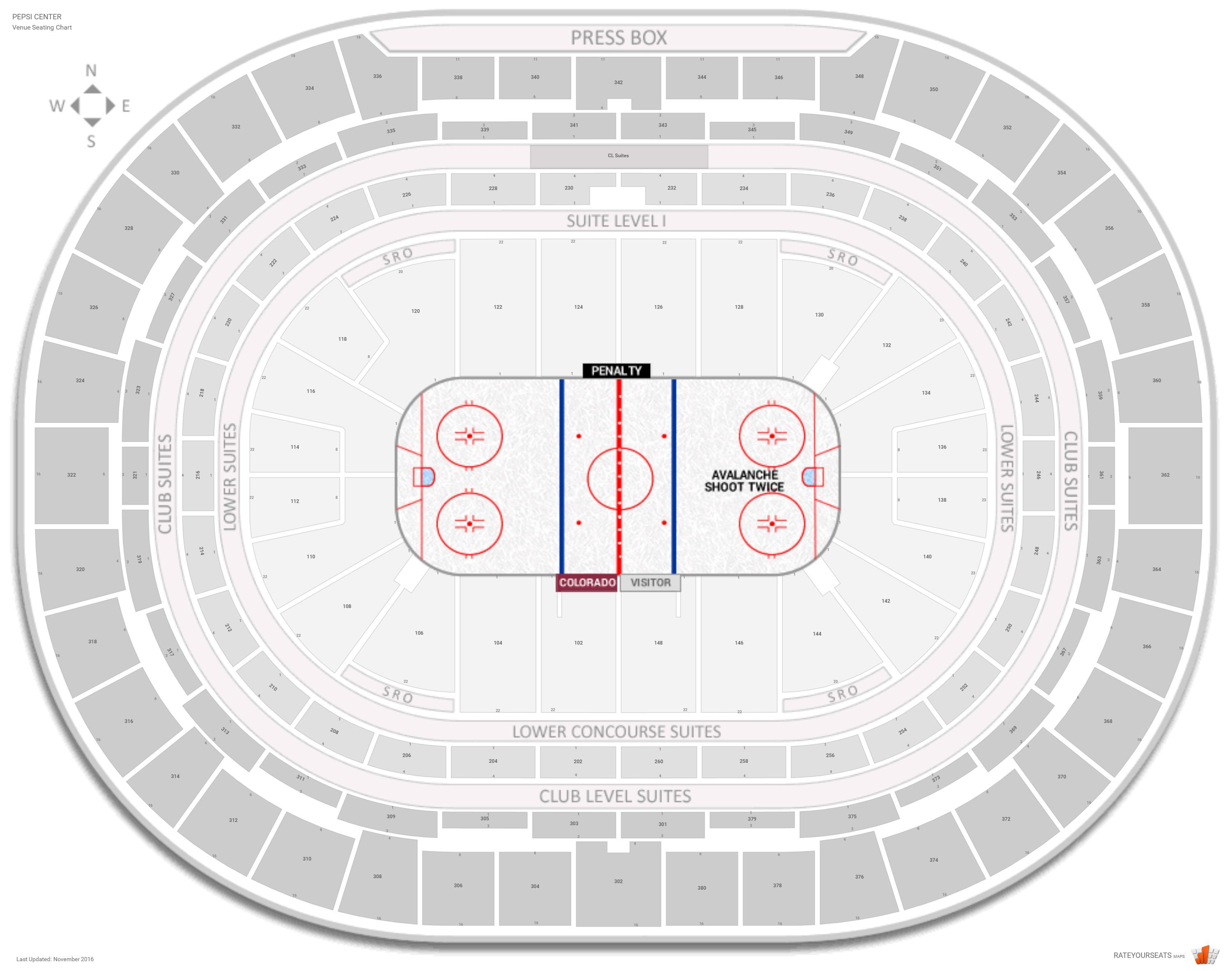Pepsi Center Seating Chart with Row Numbers