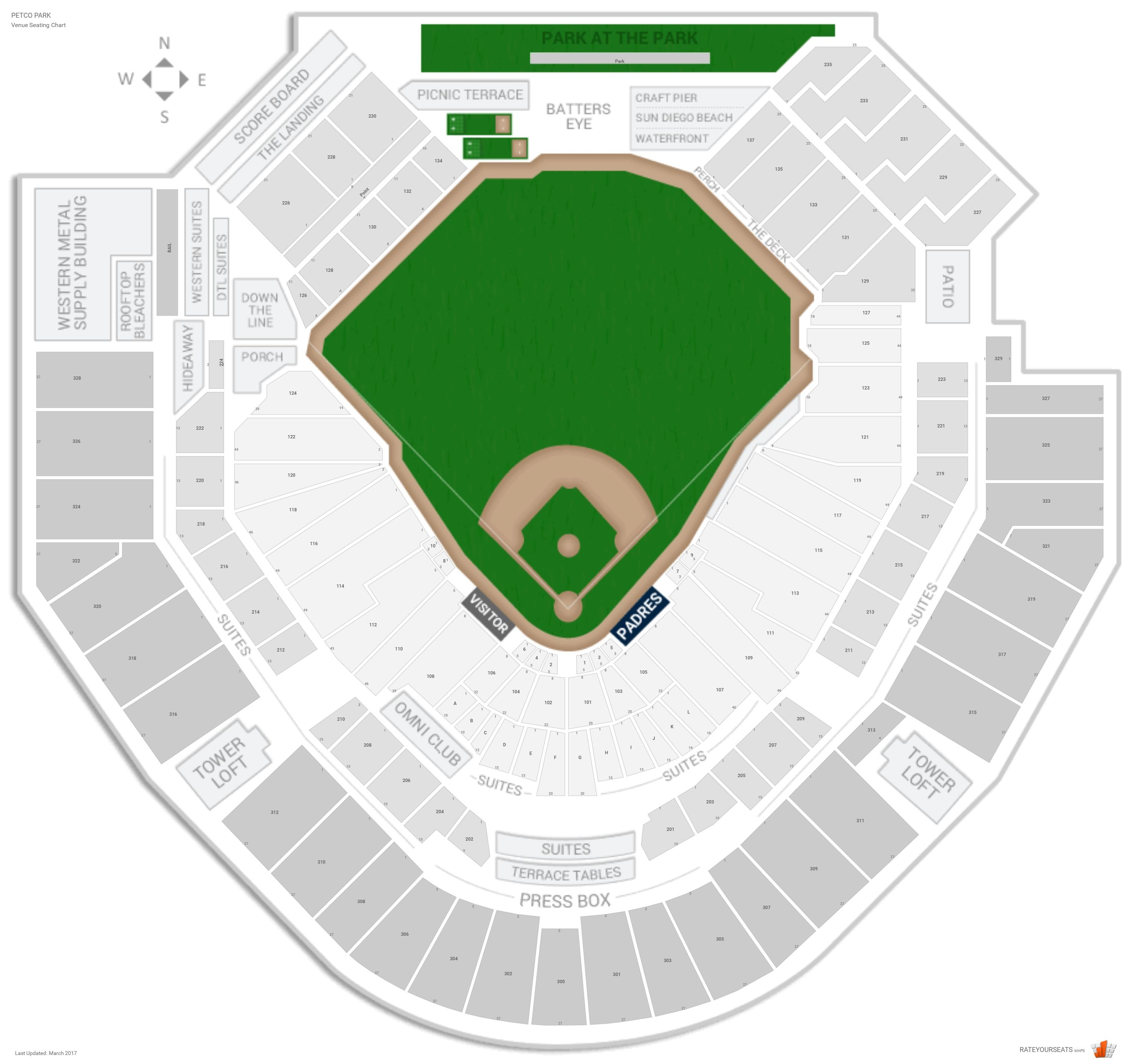 Petco Park Seating Chart With Row Numbers