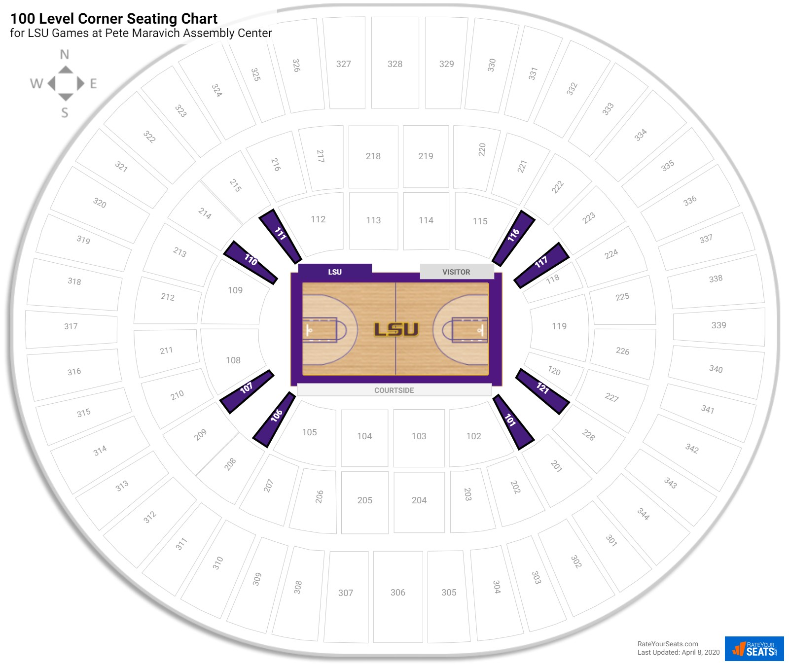 Pete Maravich Assembly Center 100 Level Corner seating chart