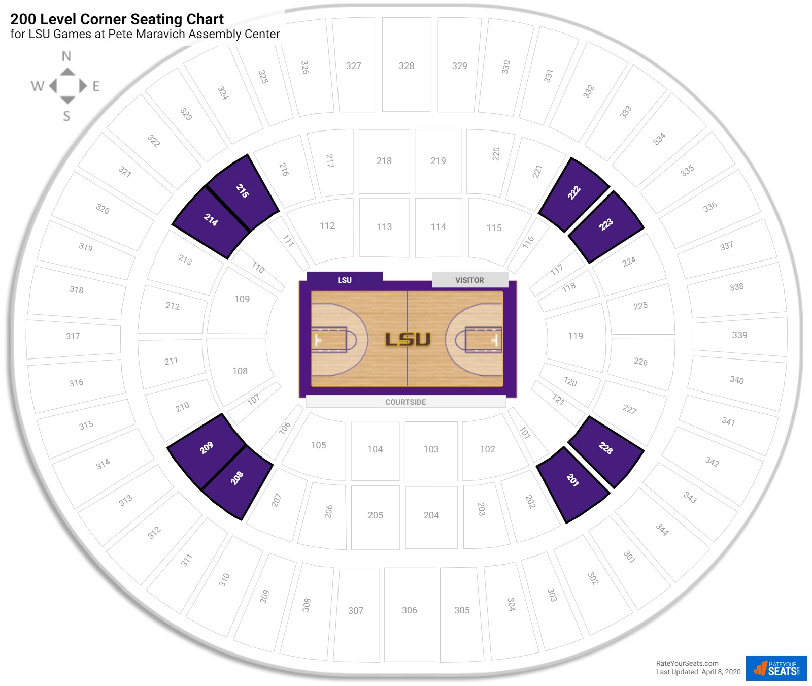 Pete Maravich Assembly Center 200 Level Corner seating chart