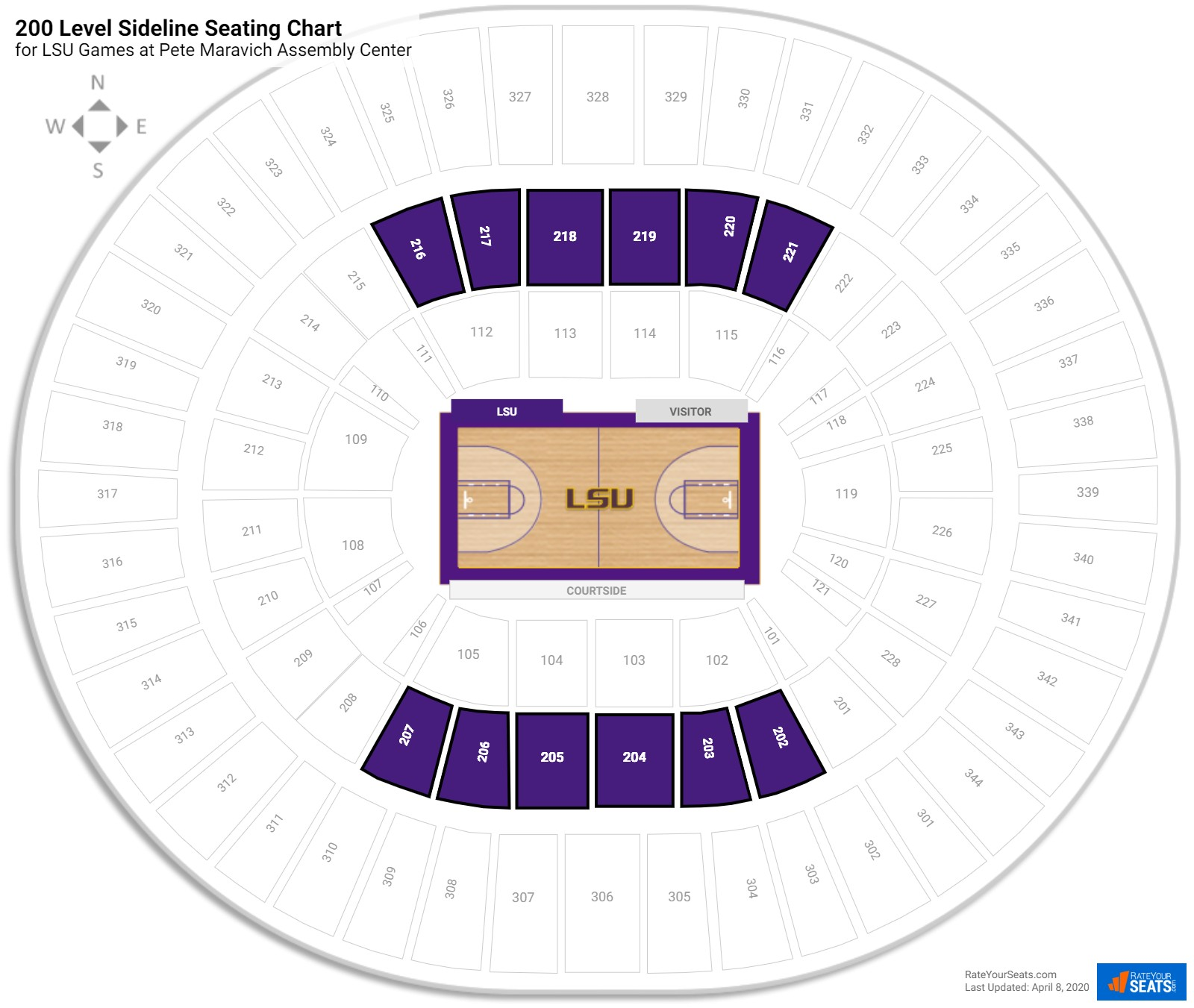 Pete Maravich Assembly Center 200 Level Side seating chart