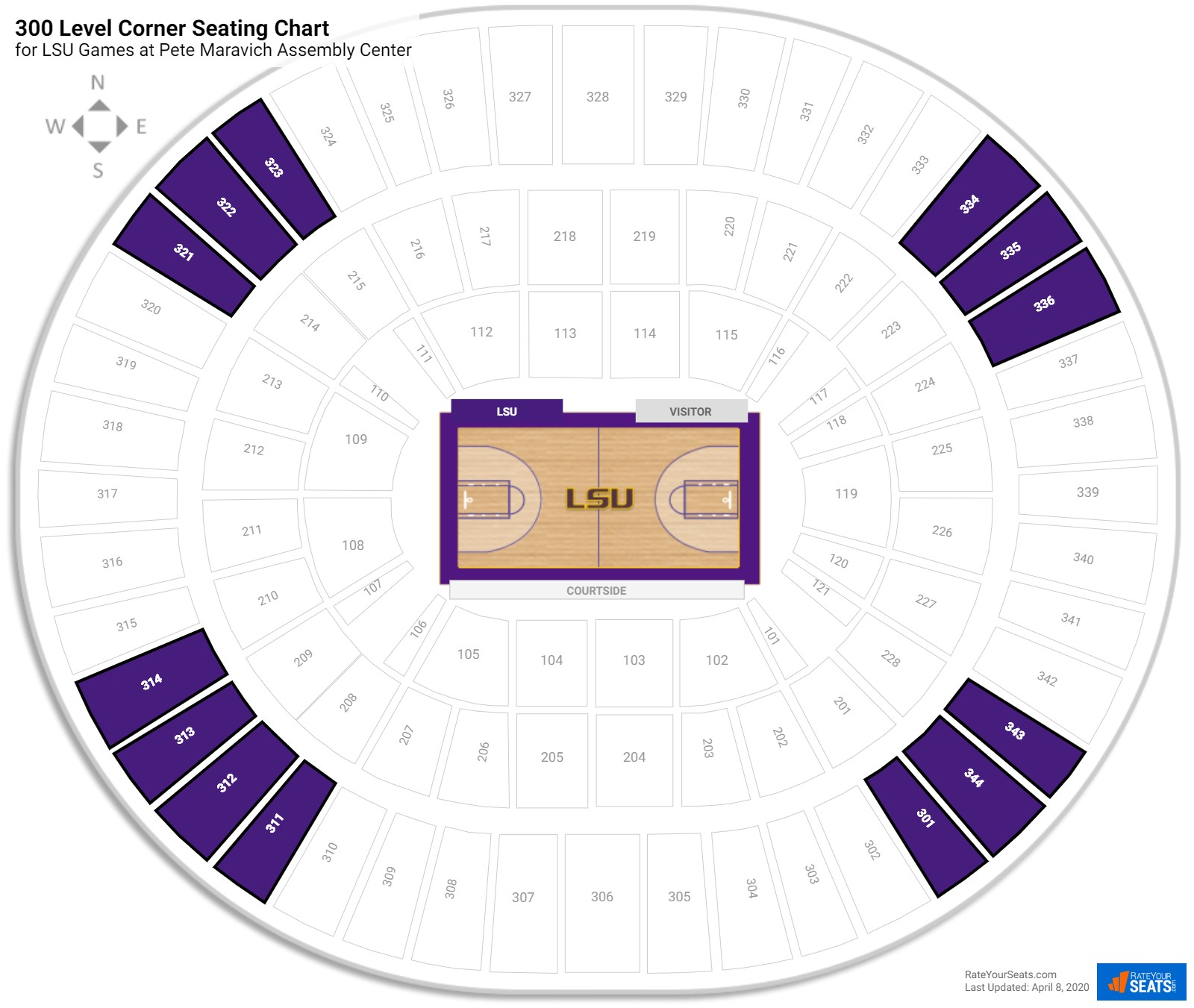 Pete Maravich Assembly Center 300 Level Corner seating chart