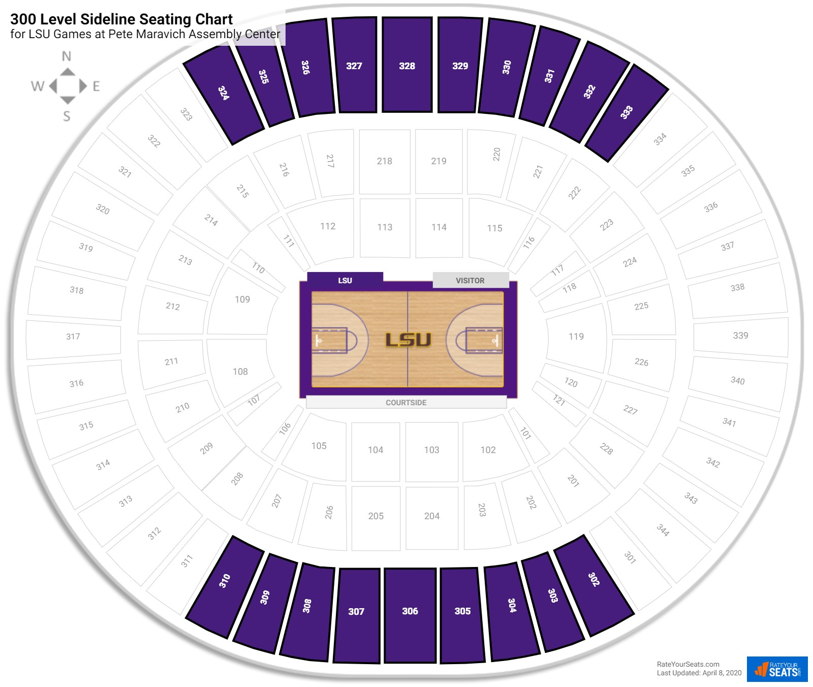 Pete Maravich Assembly Center 300 Level Side seating chart