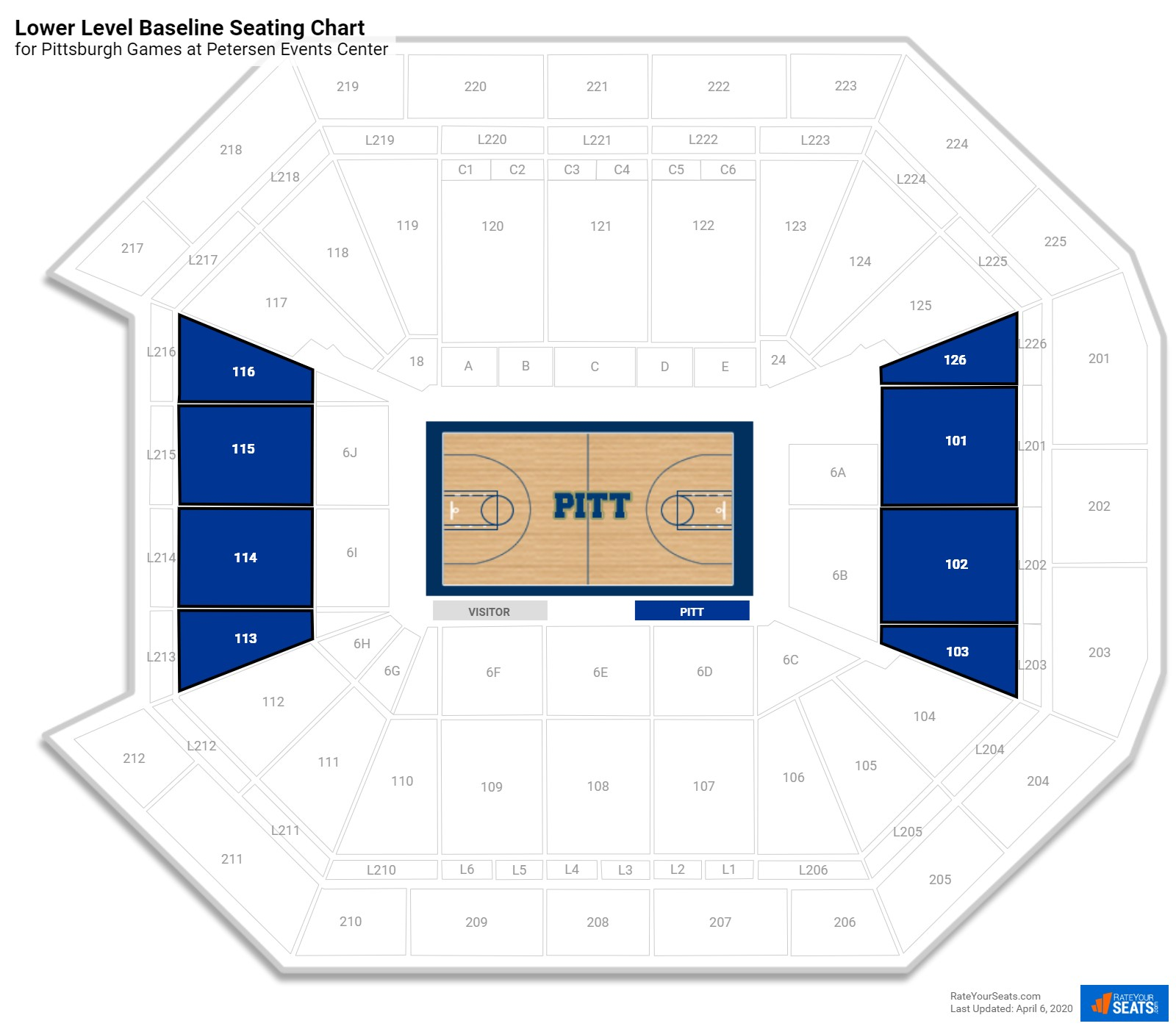 Petersen Events Center Lower Level Baseline Seating Chart
