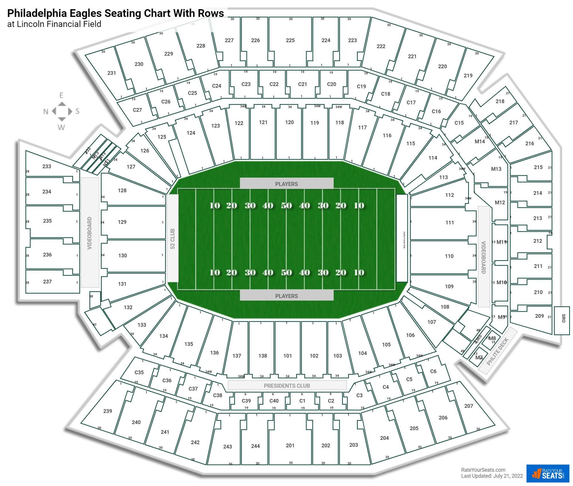 Lincoln Financial Field seating chart with rows football