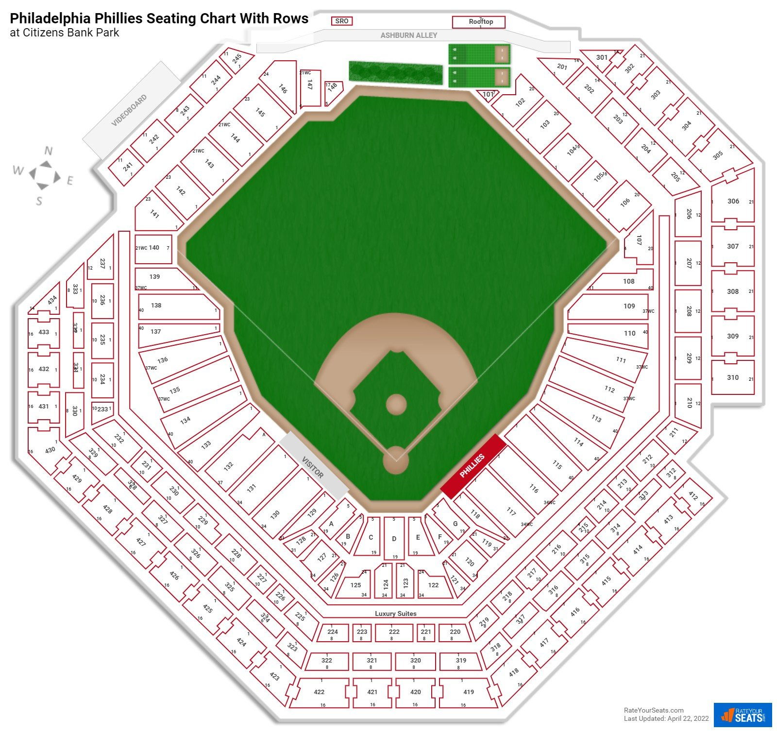 Citizens Bank Park seating chart with rows baseball