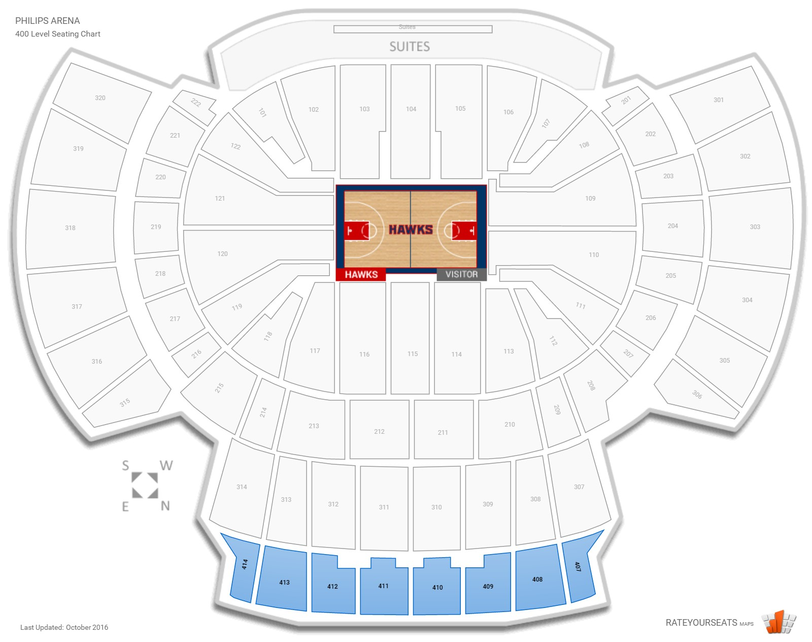 Philips Arena 400 Level seating chart
