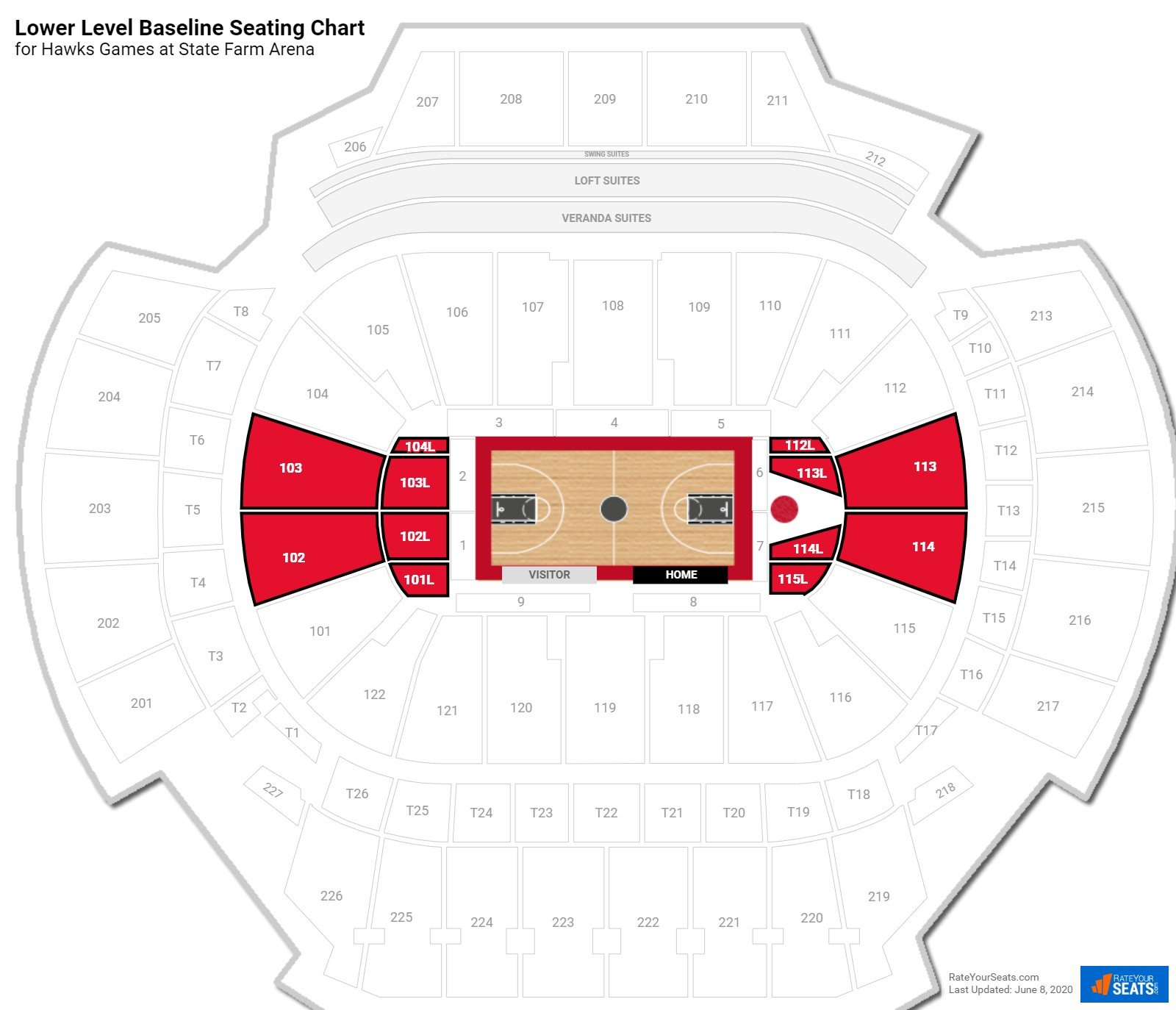 Philips Arena Lower Level Baseline seating chart
