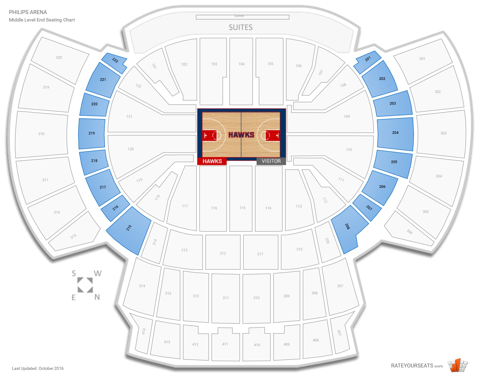 Philips Arena Middle Level End seating chart