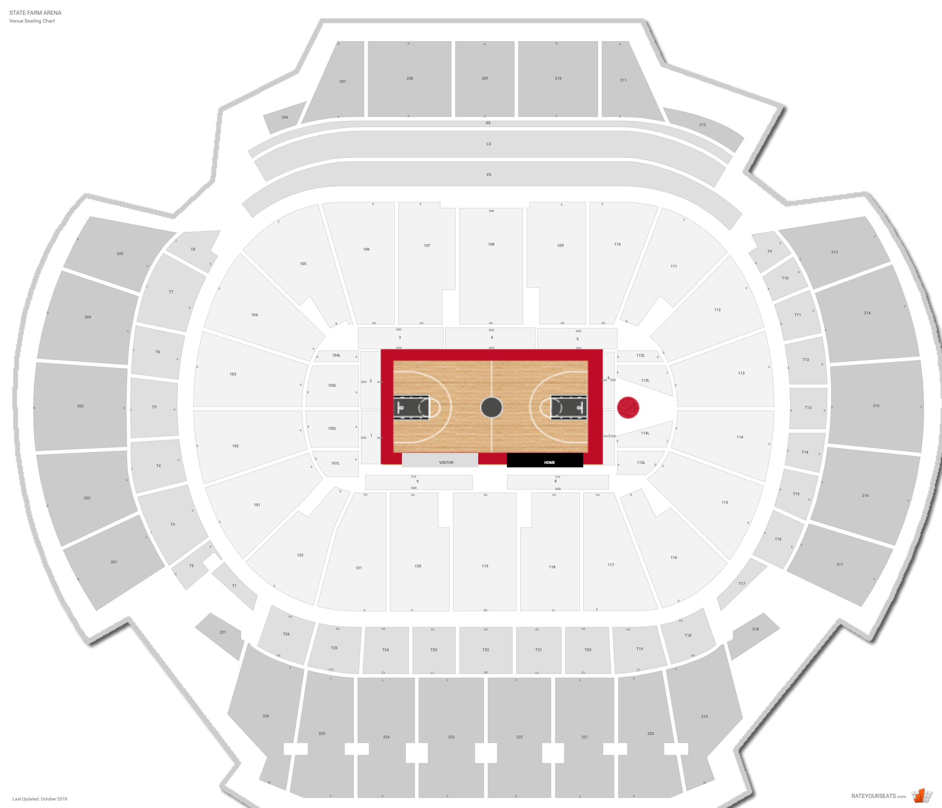 State Farm Arena Seating Chart With Row Numbers