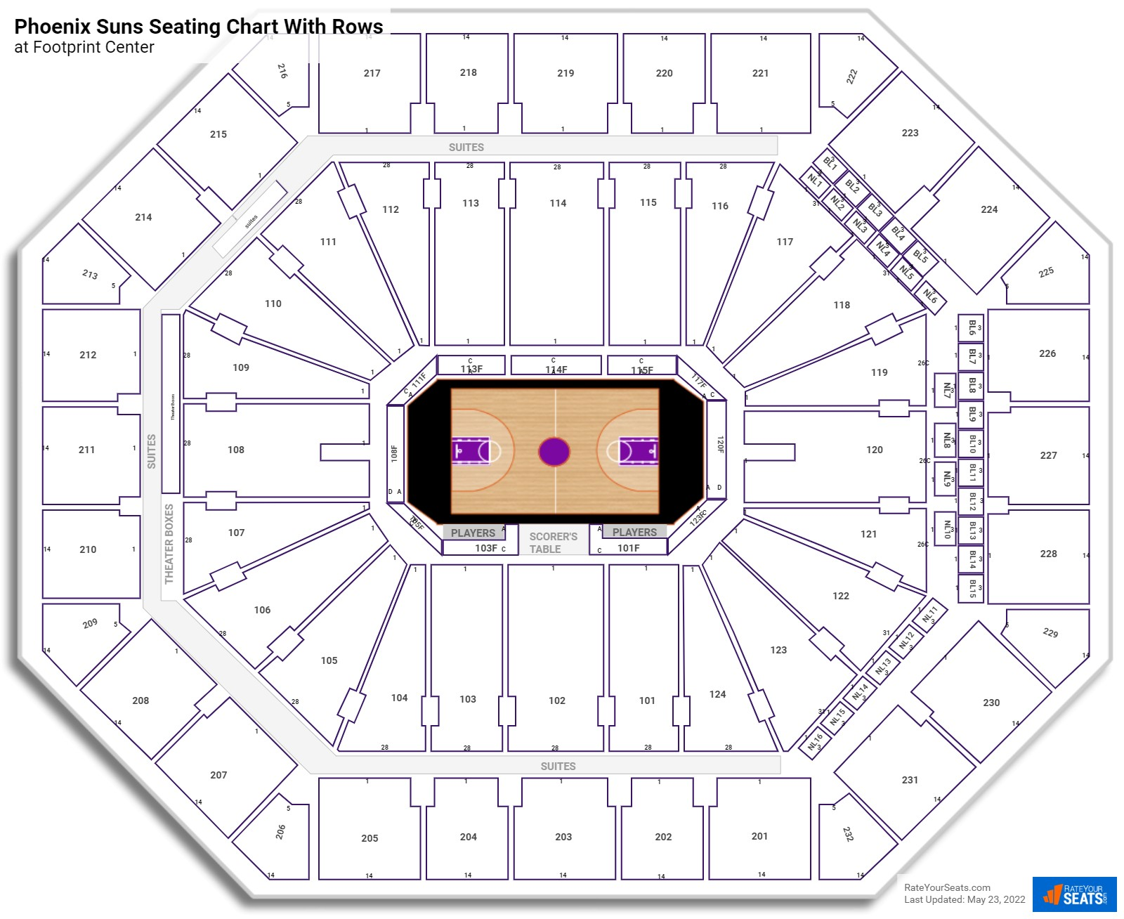 Talking Stick Resort Arena seating chart with rows basketball