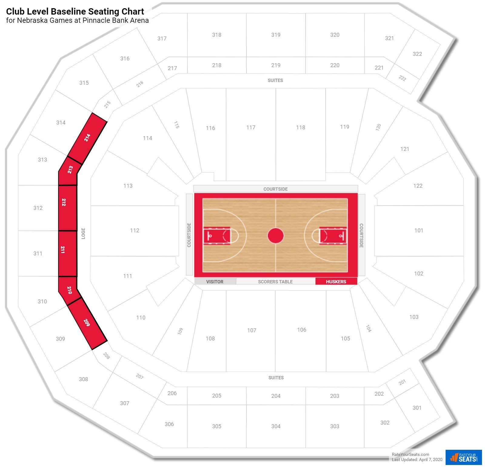Pinnacle Bank Arena Club Level Baseline seating chart