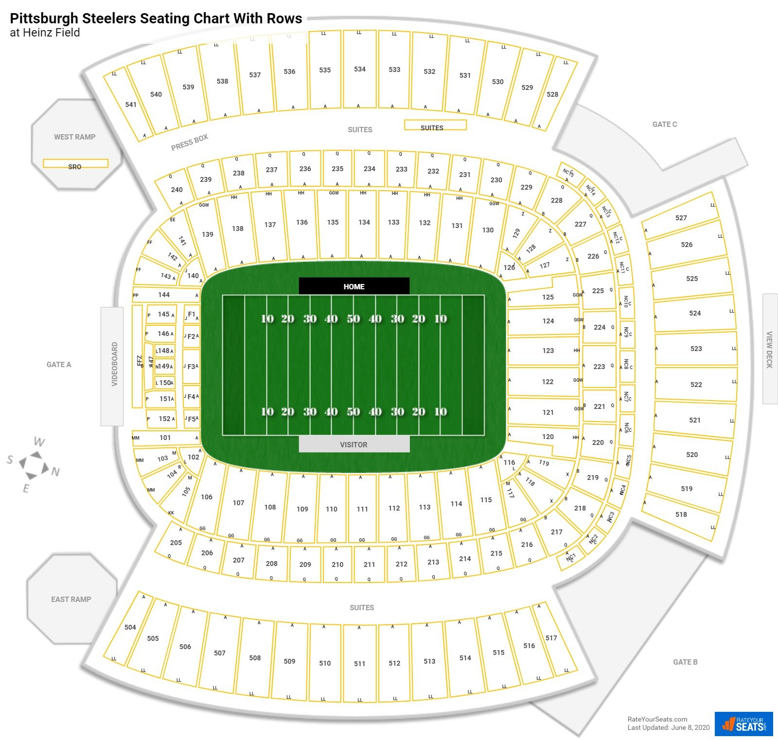Heinz Field seating chart with rows