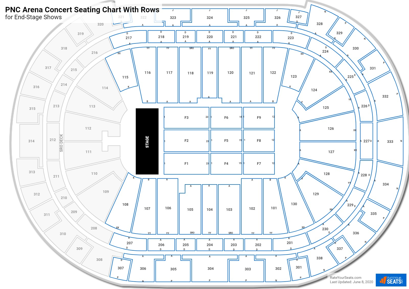 PNC Arena seating chart with rows concert