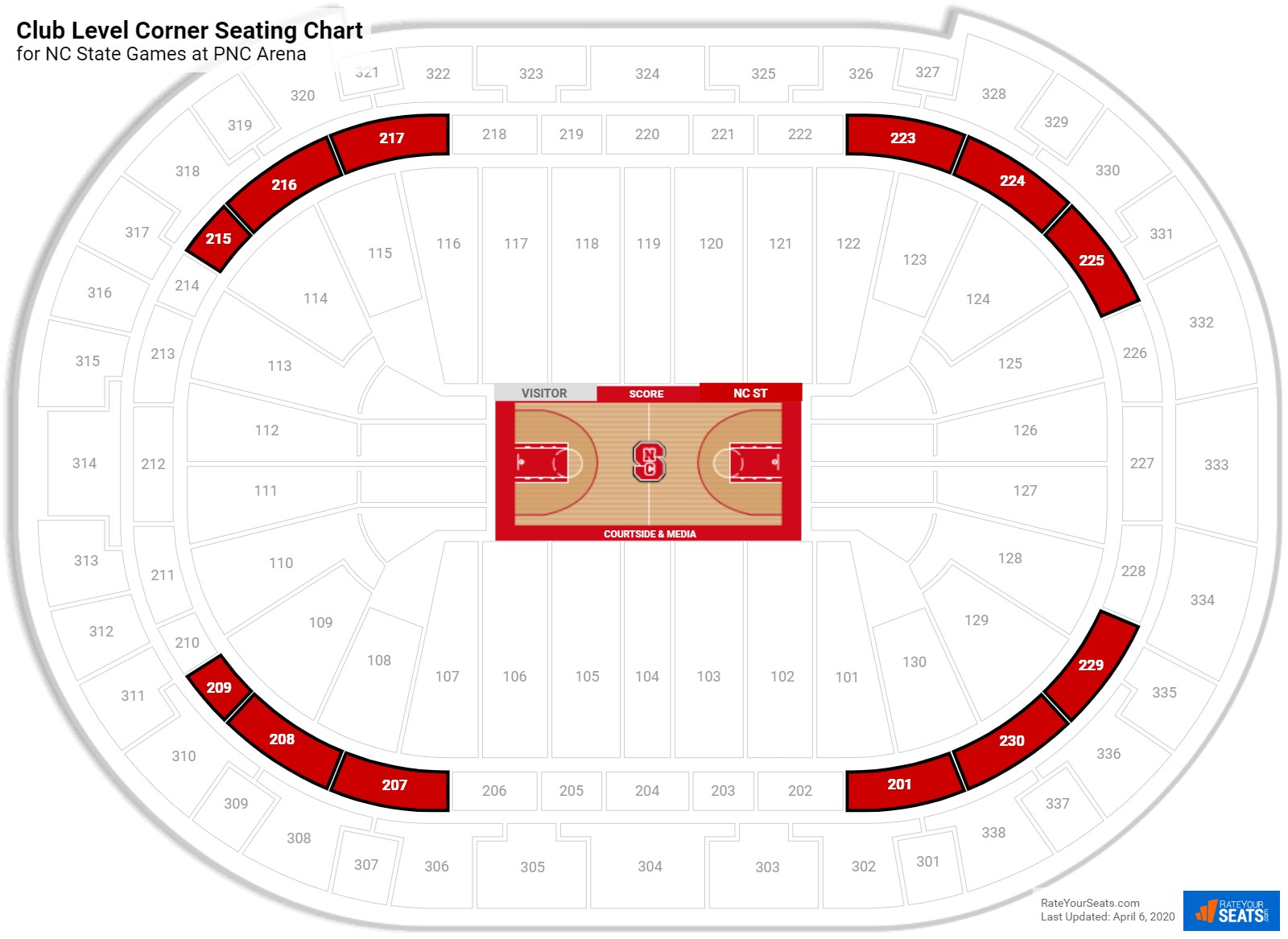PNC Arena Club Level Corner seating chart