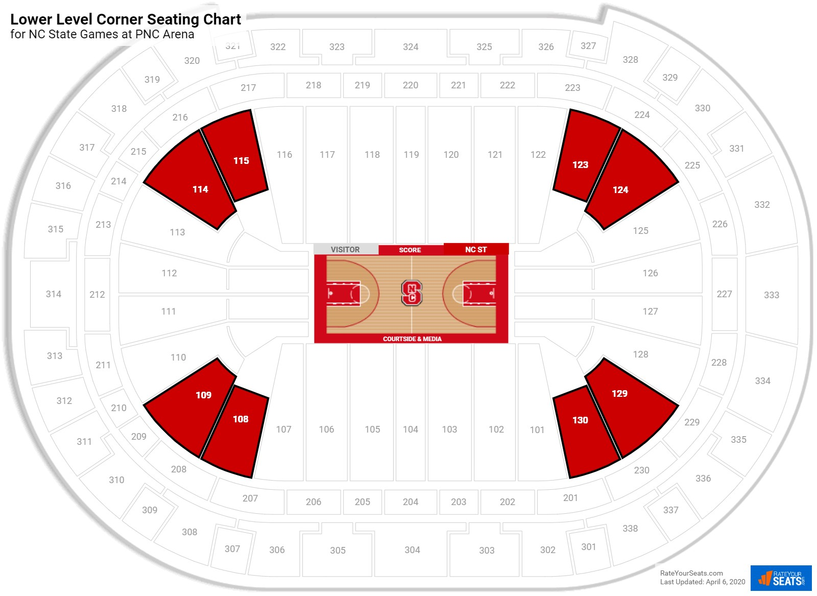 PNC Arena Lower Level Corner seating chart