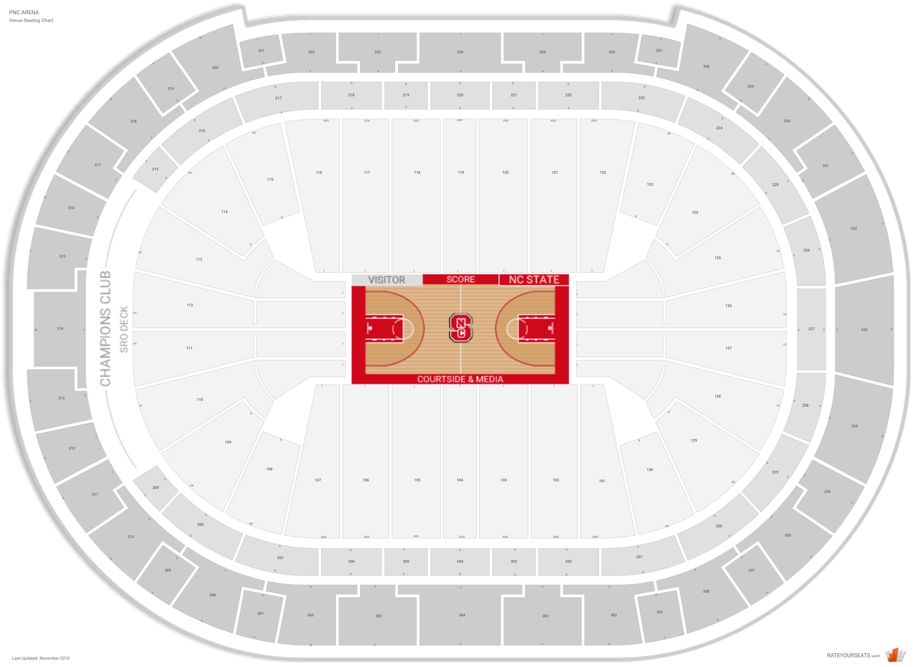 PNC Arena Seating Chart with Row Numbers