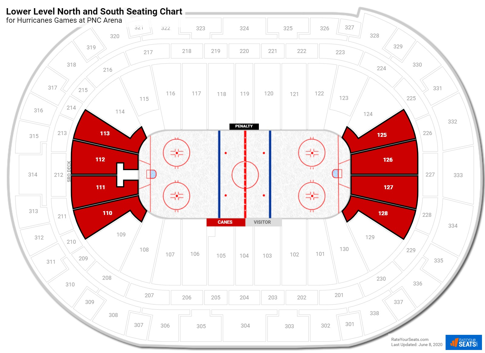 PNC Arena Lower Level Behind the Net seating chart