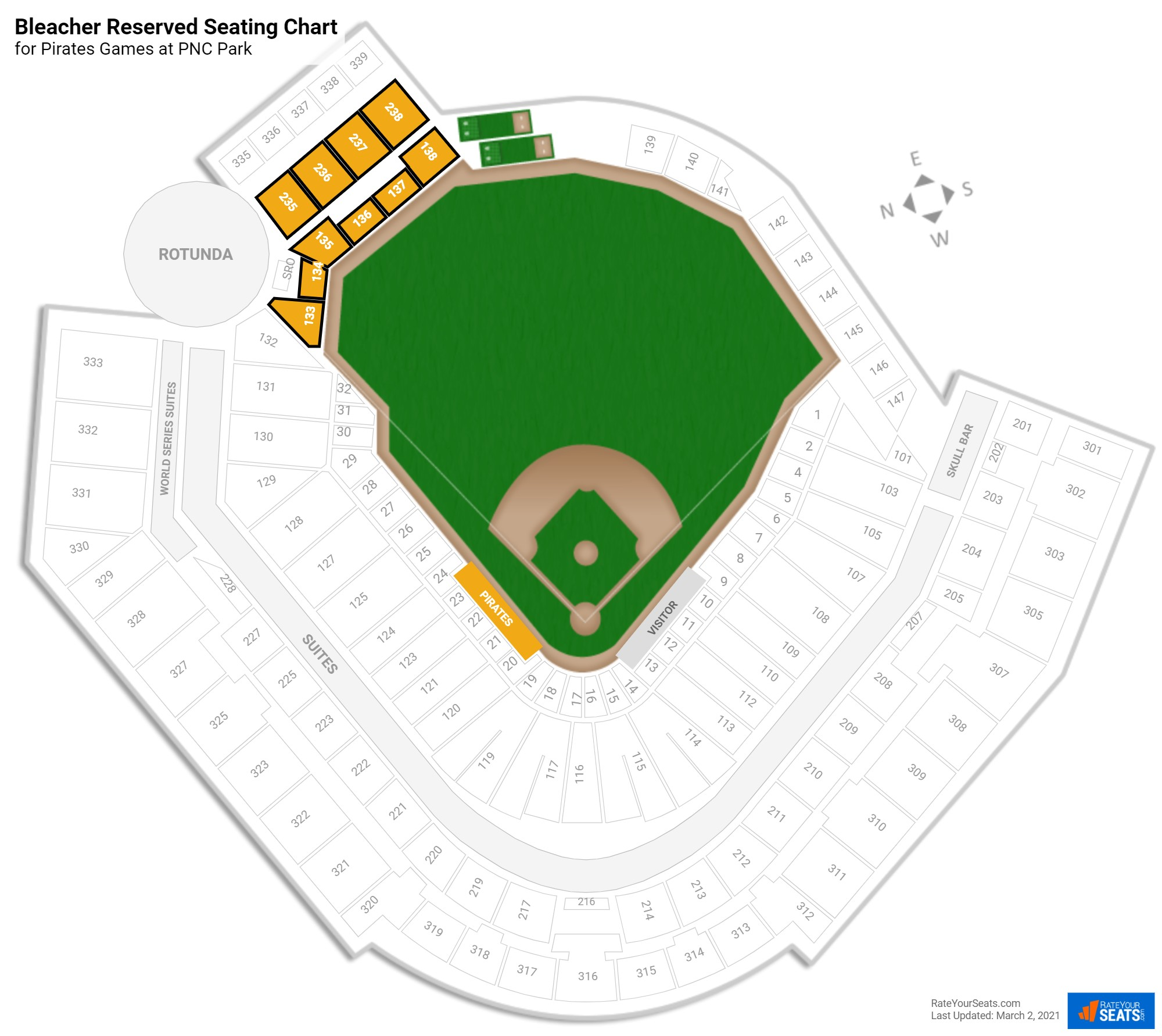 PNC Park Bleacher Reserved seating chart