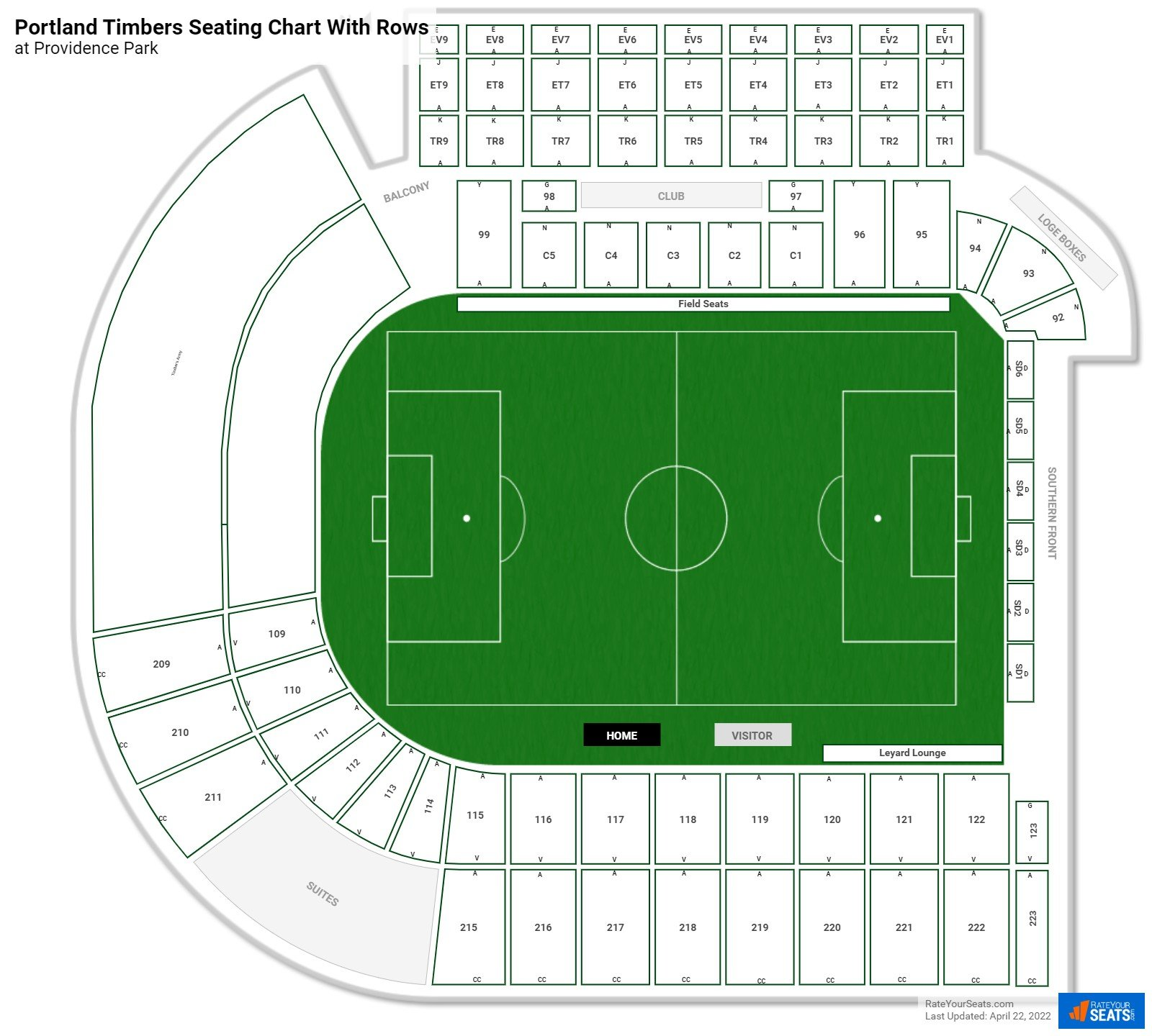 Providence Park seating chart with rows