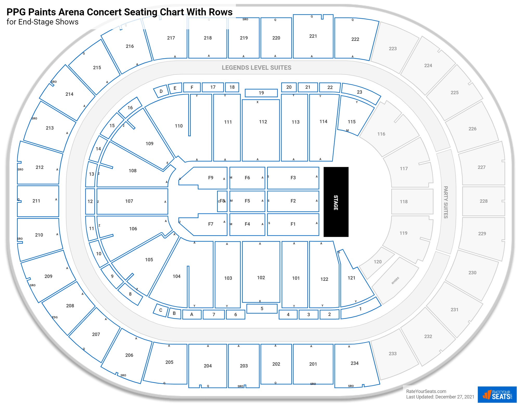 PPG Paints Arena seating chart with rows concert