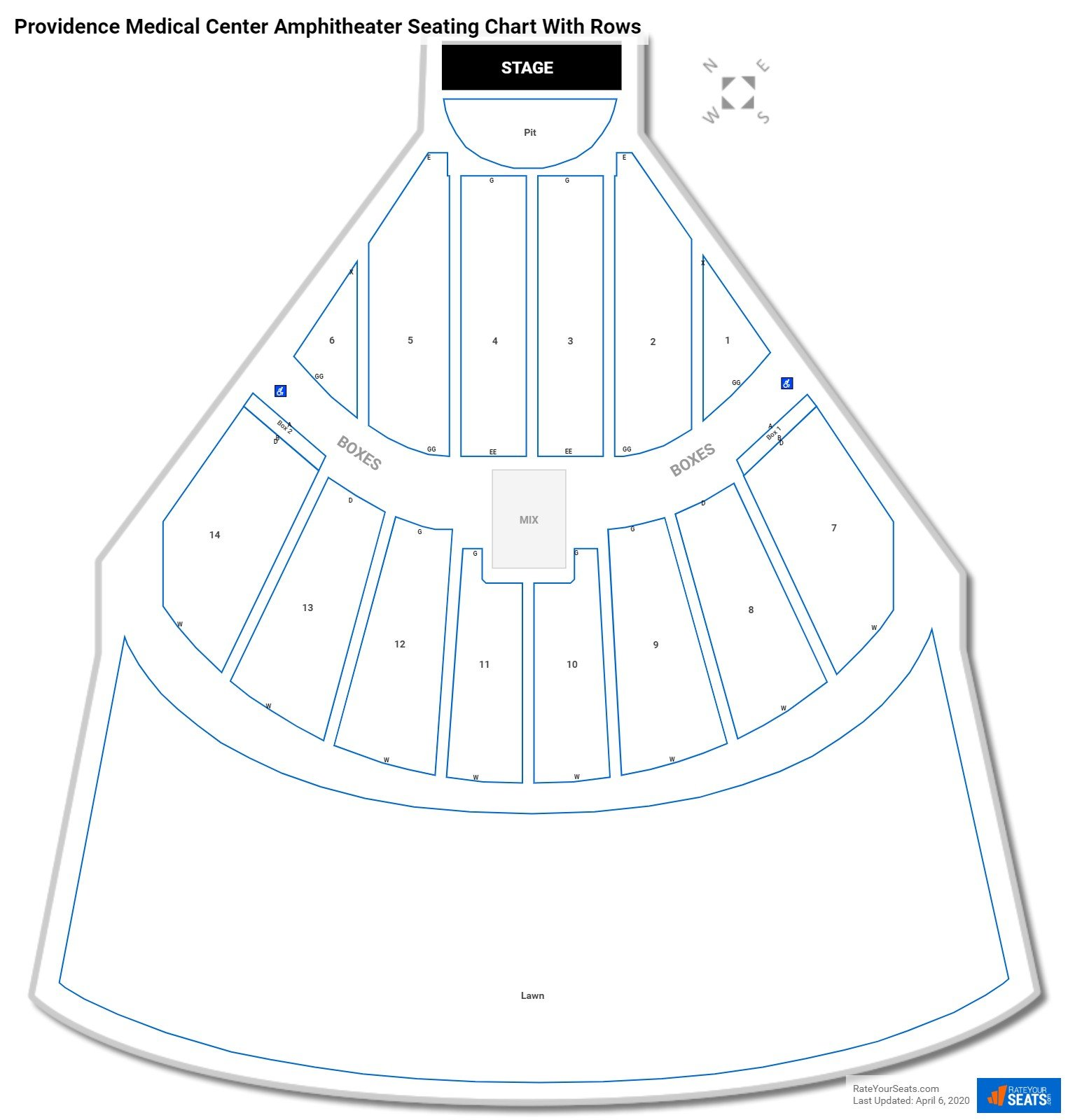 Providence Medical Center Amphitheater seating chart with rows