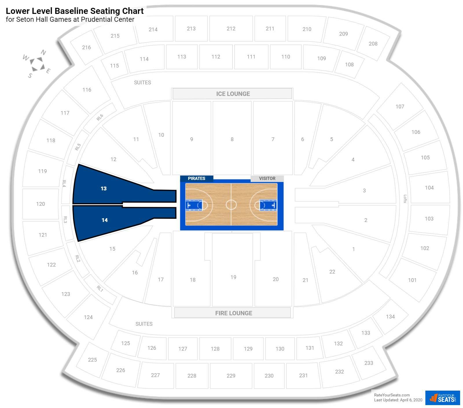 Prudential Center Lower Level Baseline Seating Chart