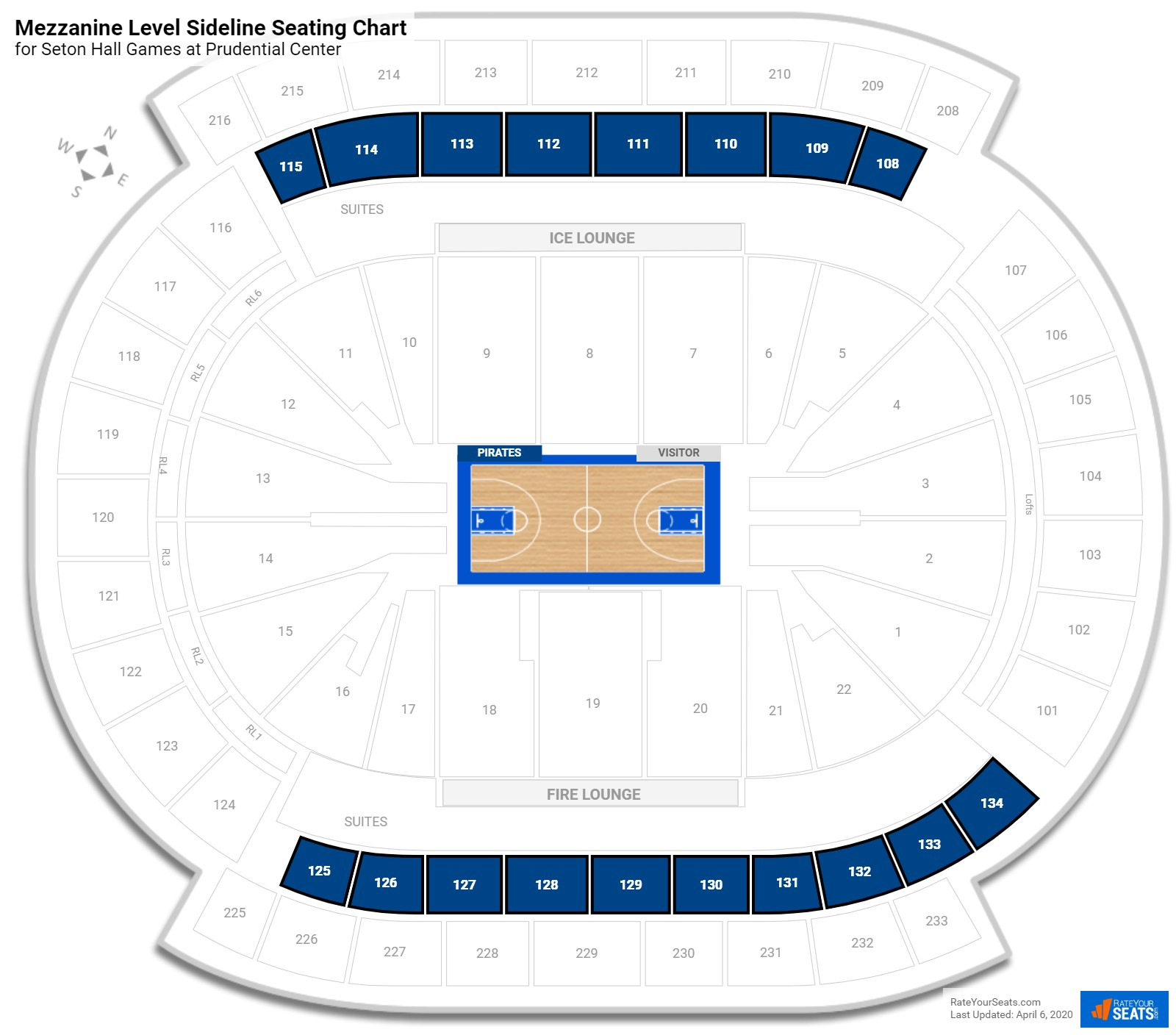 Prudential Center Mezzanine Level Sideline Seating Chart