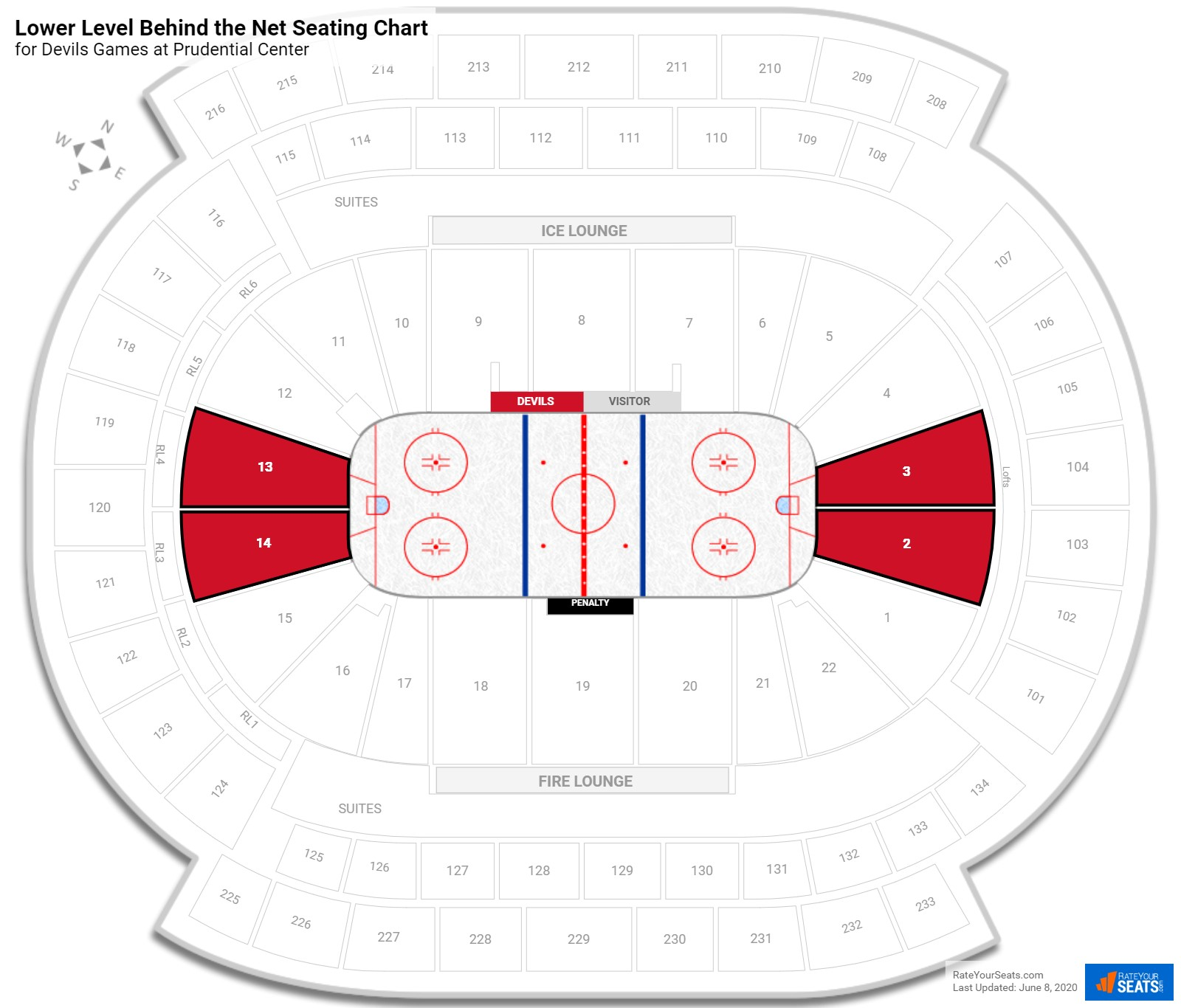 Prudential Center Lower Level Behind the Net seating chart