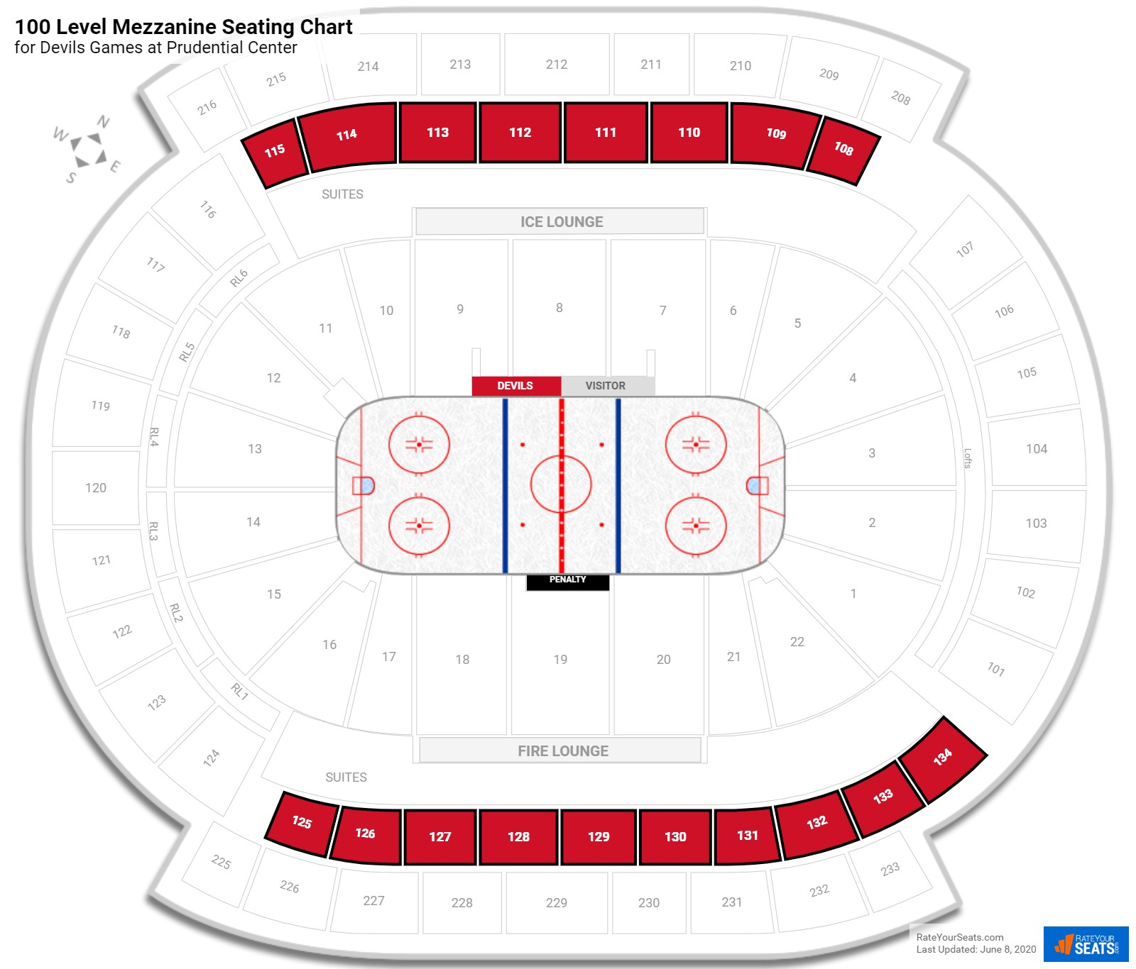 Prudential Center Mezzanine Level Side seating chart