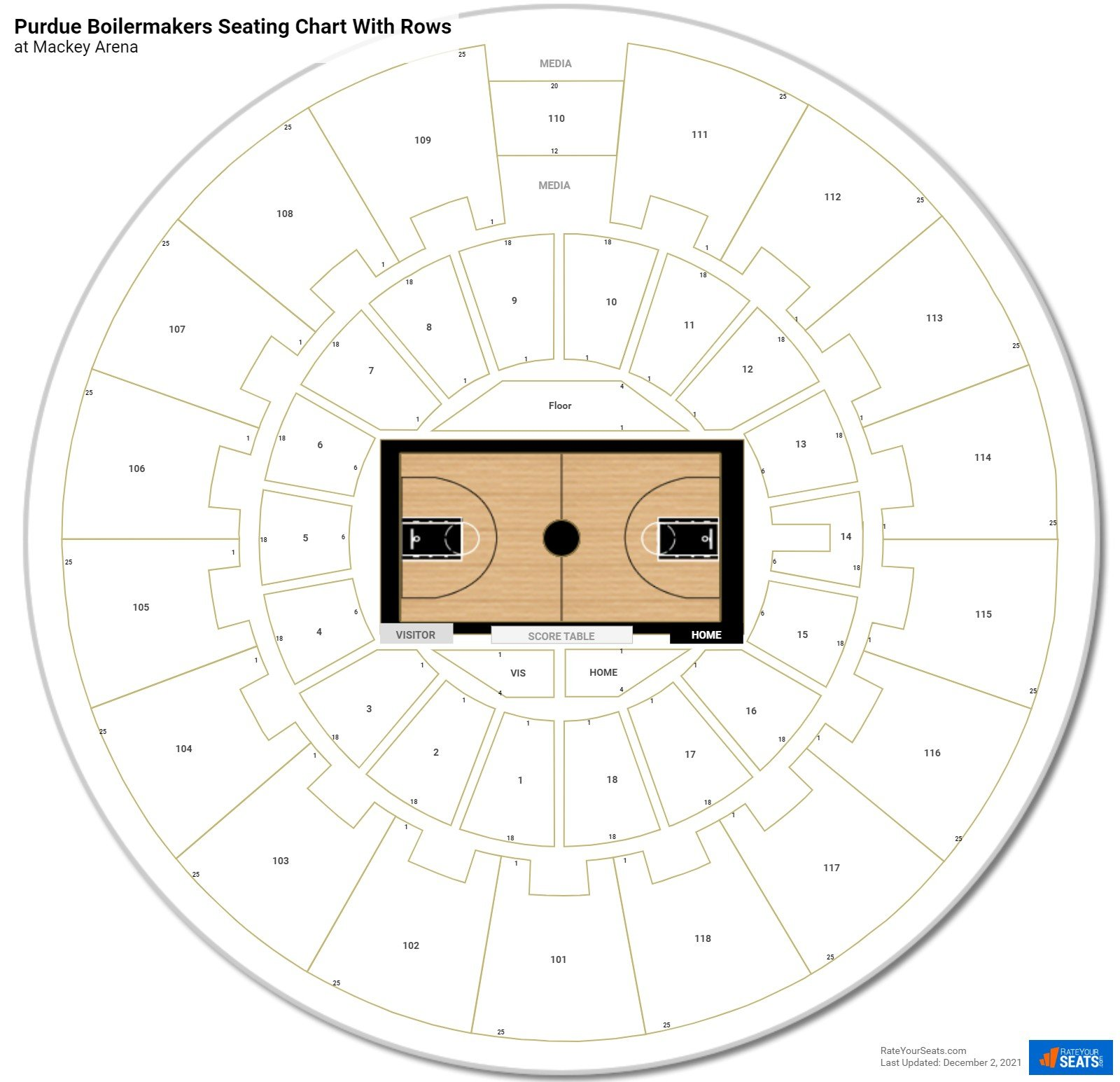 Mackey Arena seating chart with rows