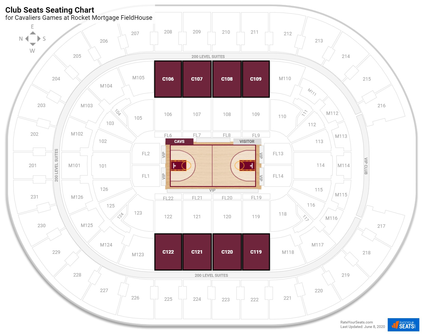 Quicken Loans Arena Club Level seating chart