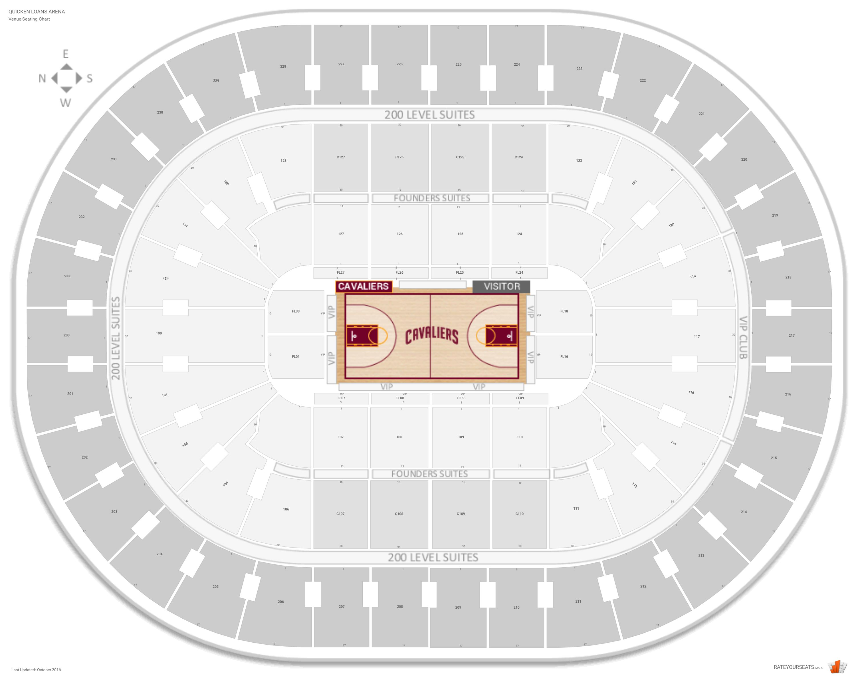 Quicken Loans Arena Seating Chart With Row Numbers
