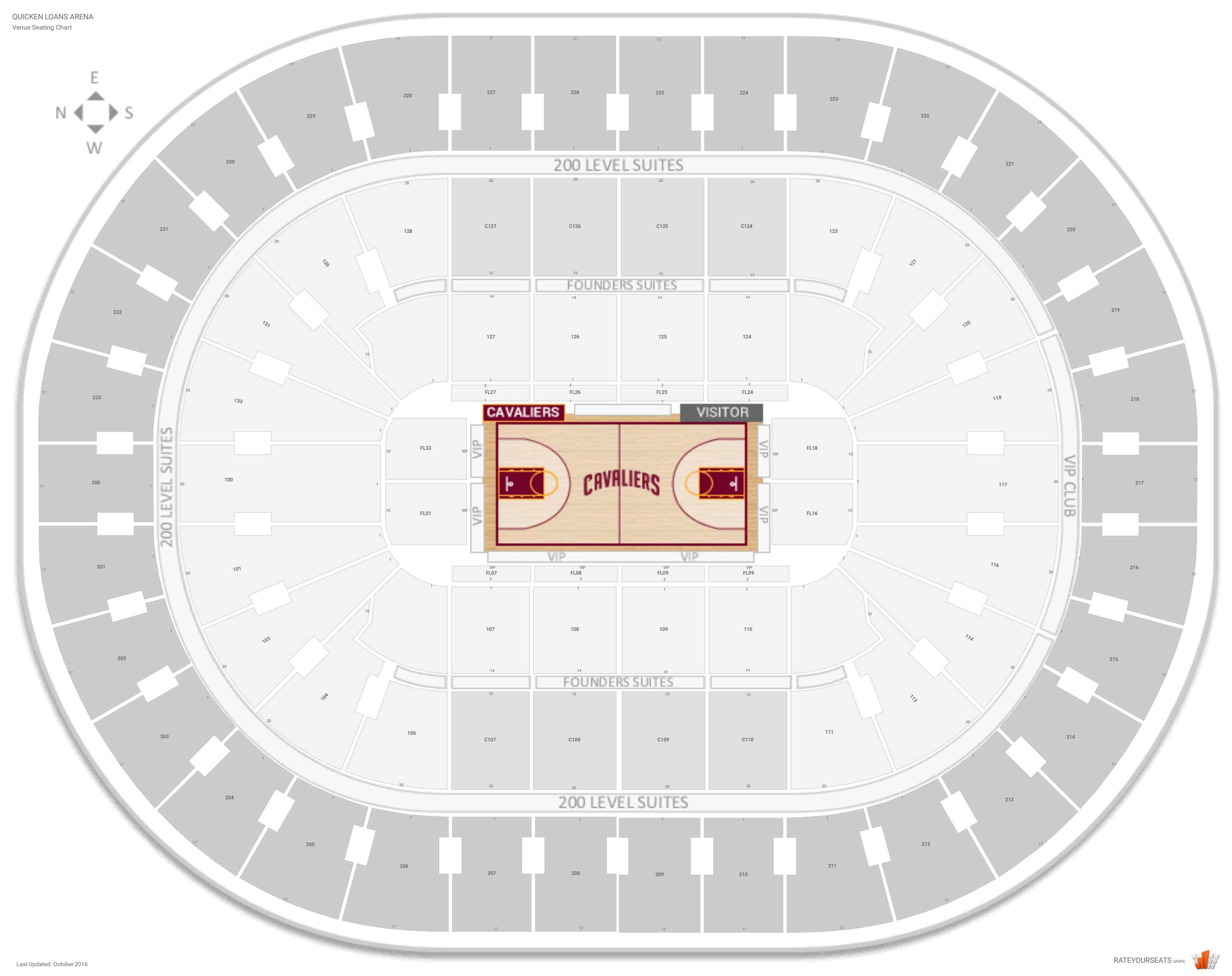Quicken Loans Arena Seating Chart with Row Numbers · Lower Level Center