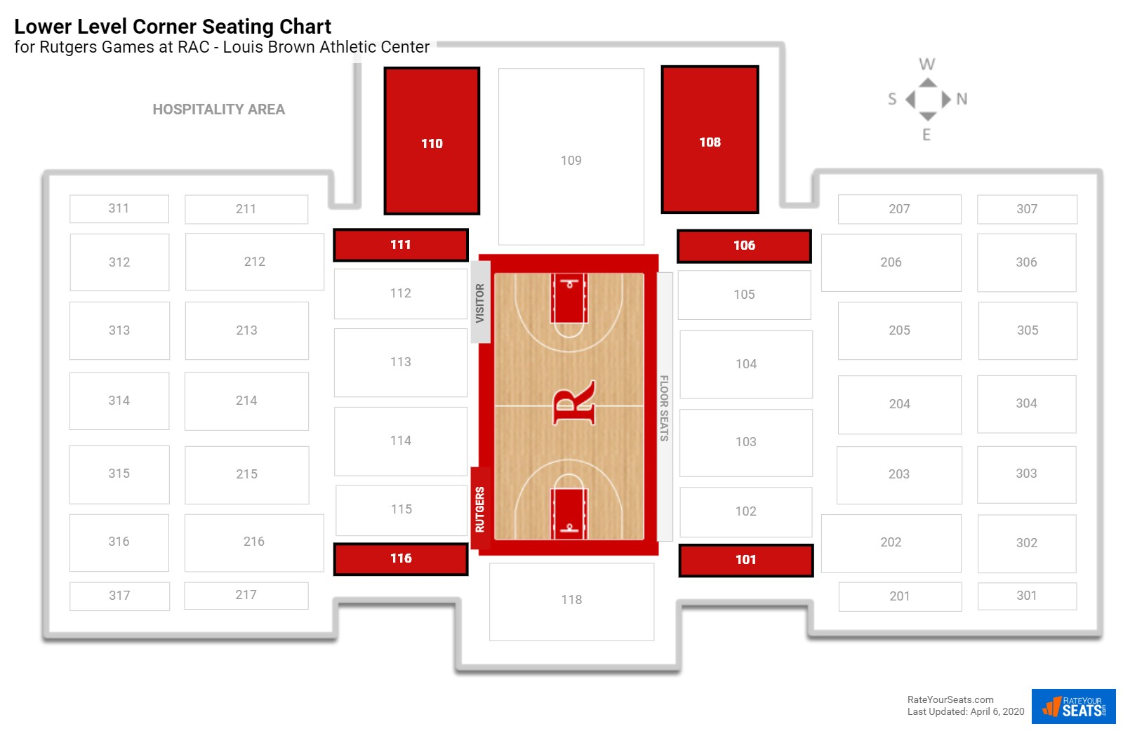 Rac Louis Brown Athletic Center Rutgers Seating Guide