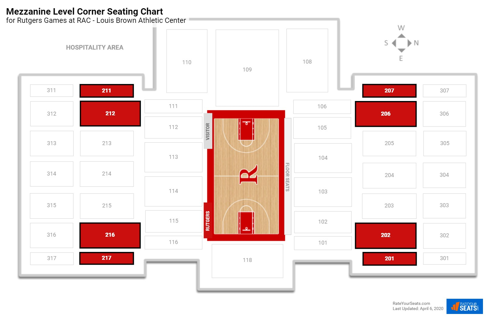 RAC - Louis Brown Athletic Center Mezzanine Level Corne seating chart