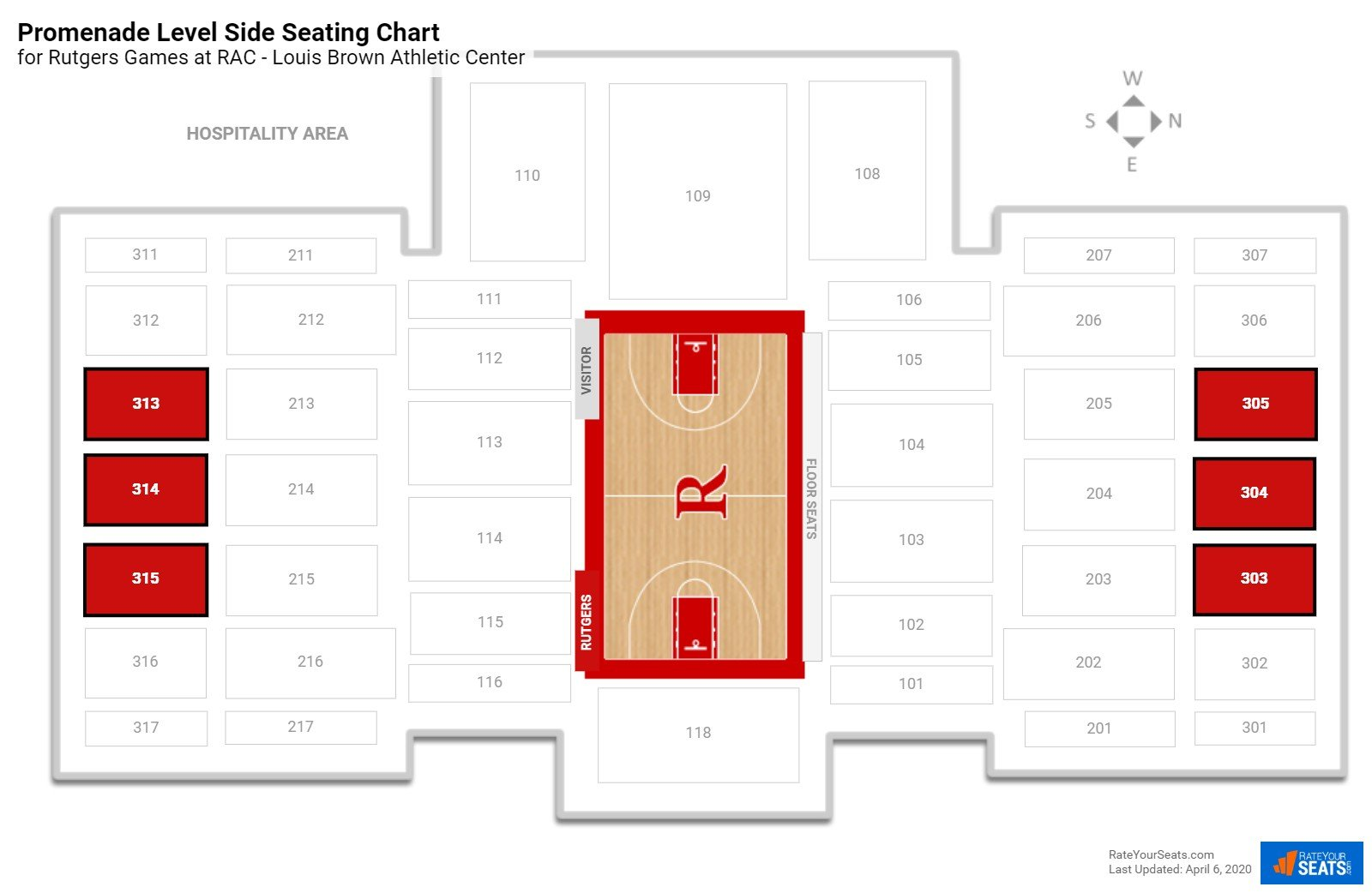 RAC - Louis Brown Athletic Center Promenade Level Side seating chart