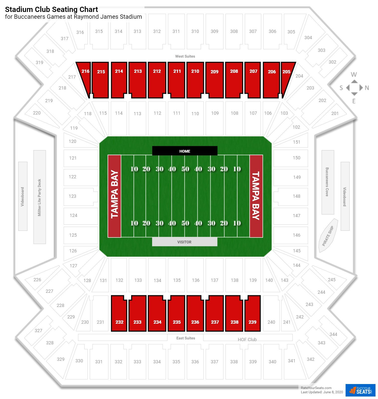 Raymond James Stadium Stadium Club seating chart