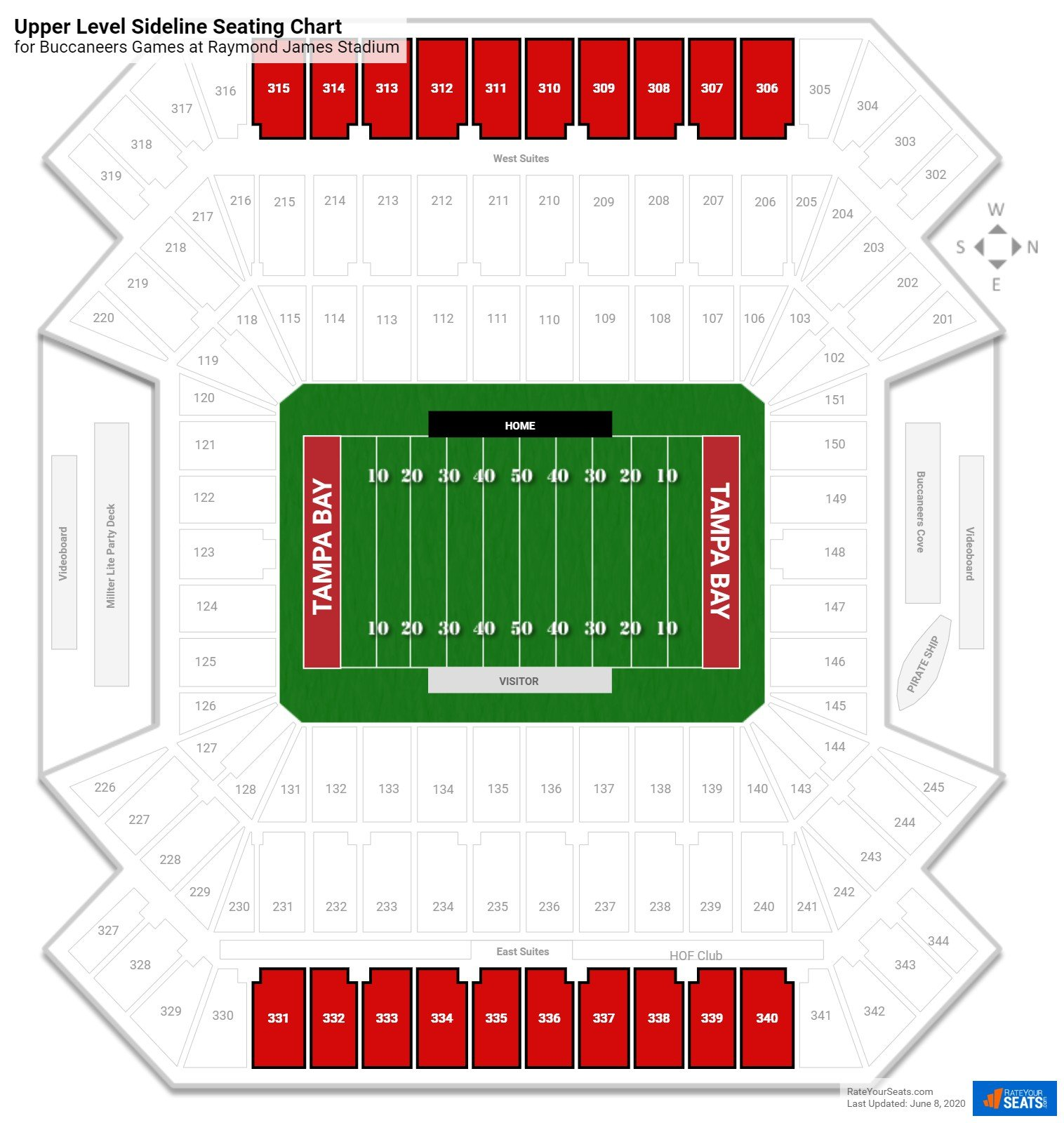 Raymond James Stadium Upper Level Sideline seating chart