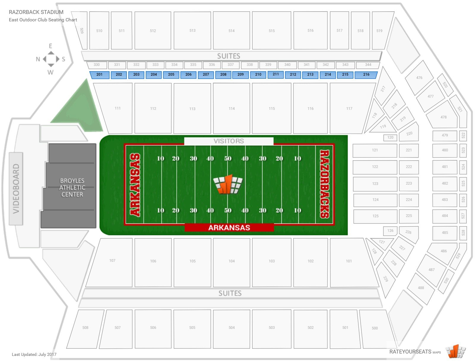 Razorback Stadium East Outdoor Club seating chart