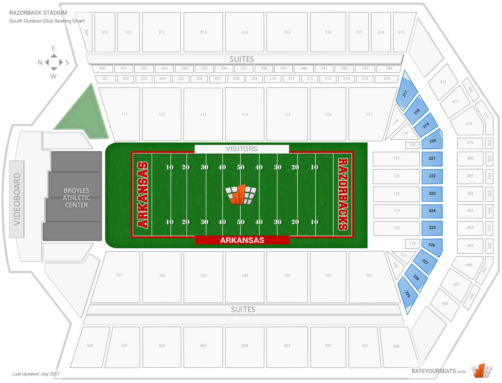 Razorback Stadium South Outdoor Club seating chart
