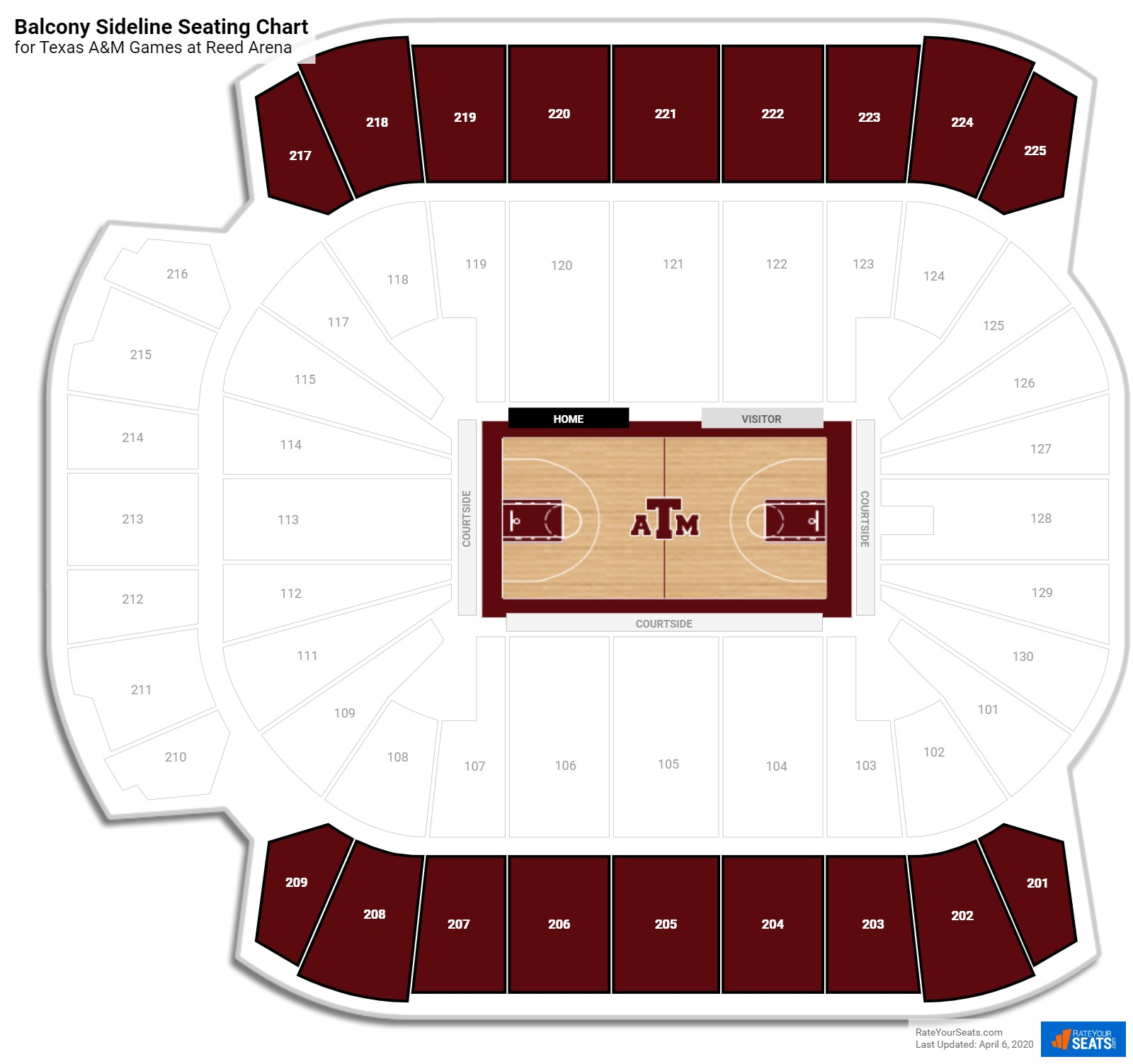 Reed Arena Upper Level Side seating chart