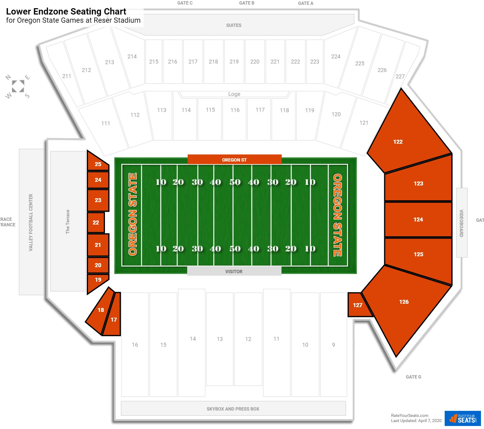 Reser Stadium Lower Endzone seating chart